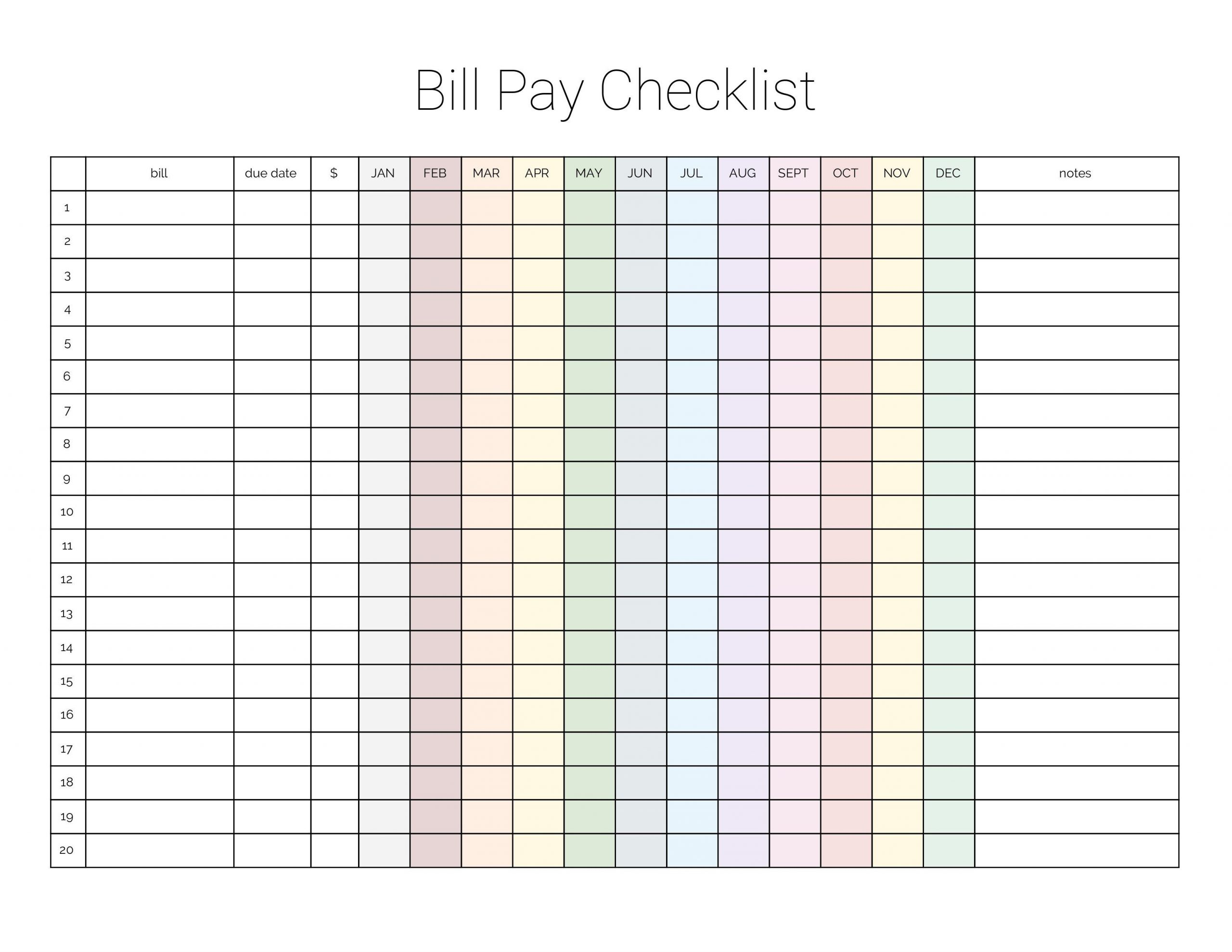 Monthly Bill Payment Checklist {Printable} - Million Ways To  Bill Pay Printable Checklist Templates