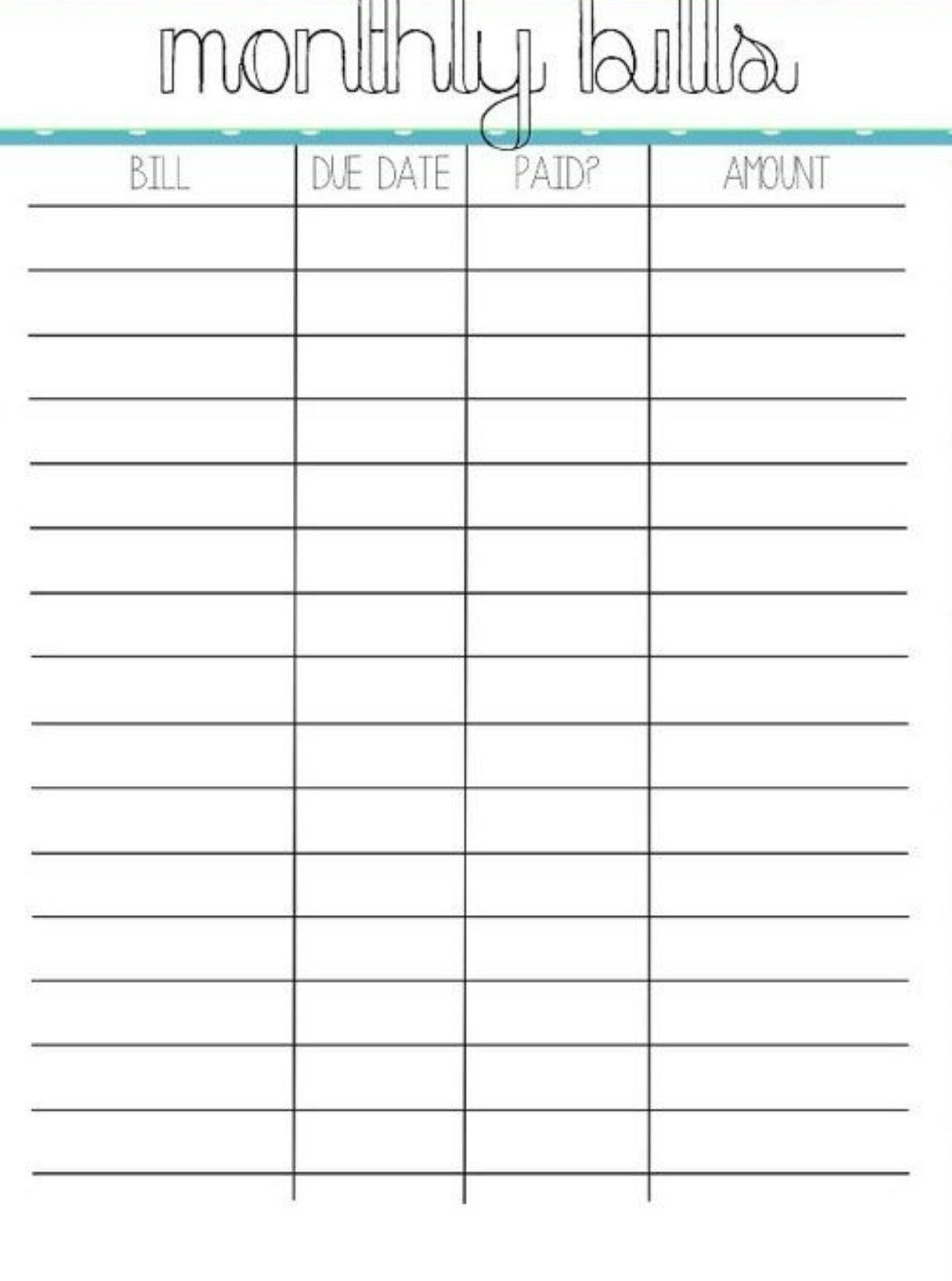 Monthly Bill Template Free Printable In 2020 | Monthly  Free Printable Monthly Bill Template