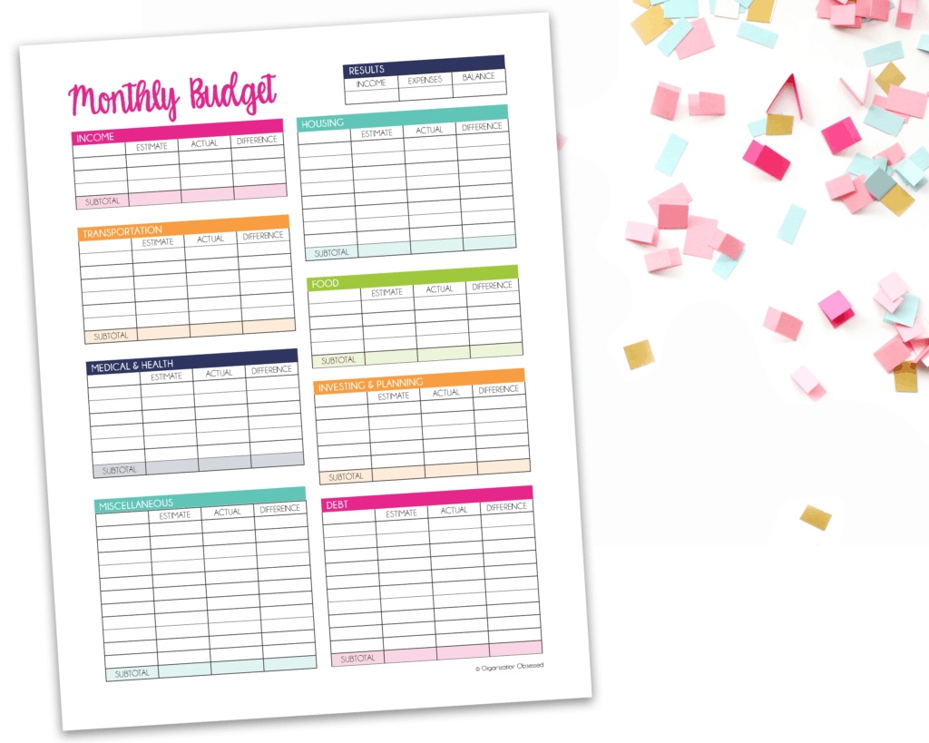 Monthly Budget Template Free Printable - Organization Obsessed  Free Printable Monthly Bill Template
