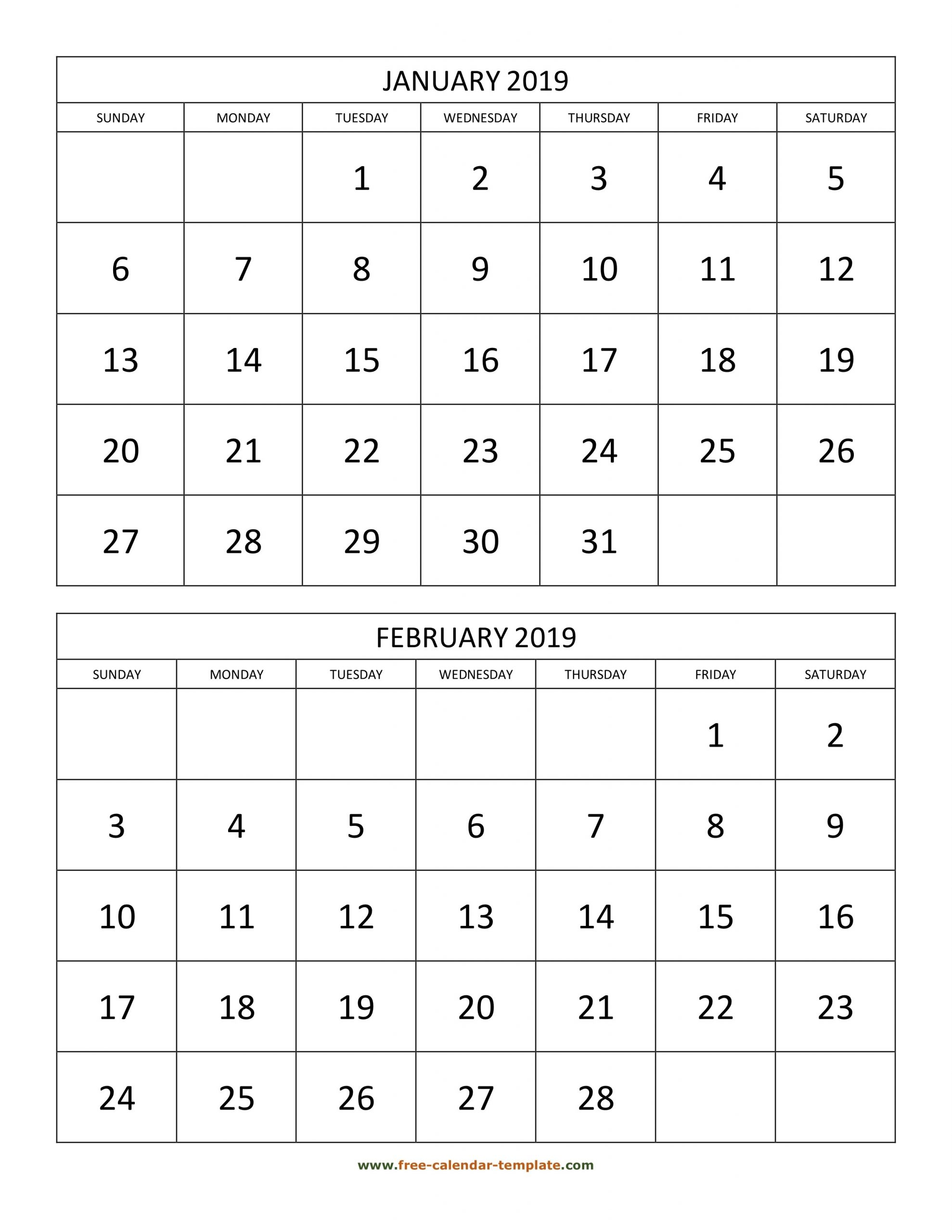Monthly Calendar 2019, 2 Months Per Page (Vertical) | Free  Two-Month Calendar Printable