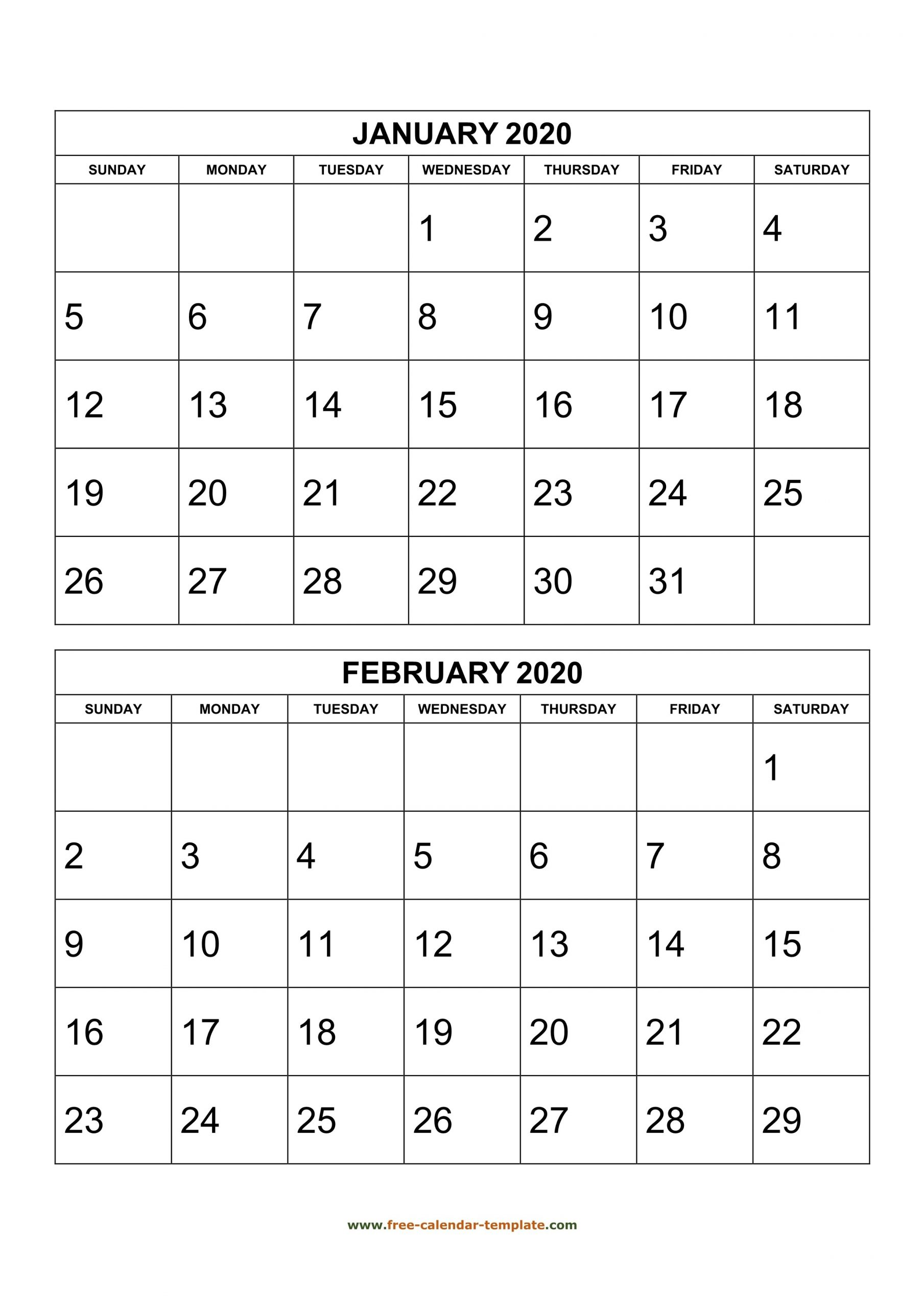 Monthly Calendar 2020, 2 Months Per Page (Vertical) | Free  Two-Month Calendar Printable