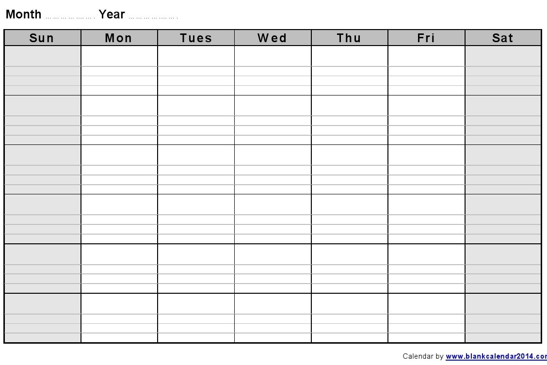 Monthly Calendar With Lines – Calendar Printable Week  Large Blank Monthly Calendar Template