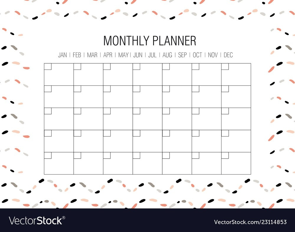 Monthly Planner Template Royalty Free Vector Image  Monthly Planner