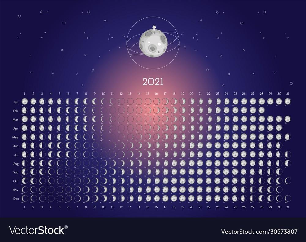 Moon Calendar 2021 Northern Hemisphere Blue Vector Image  Printable Lunar Calendar 2021