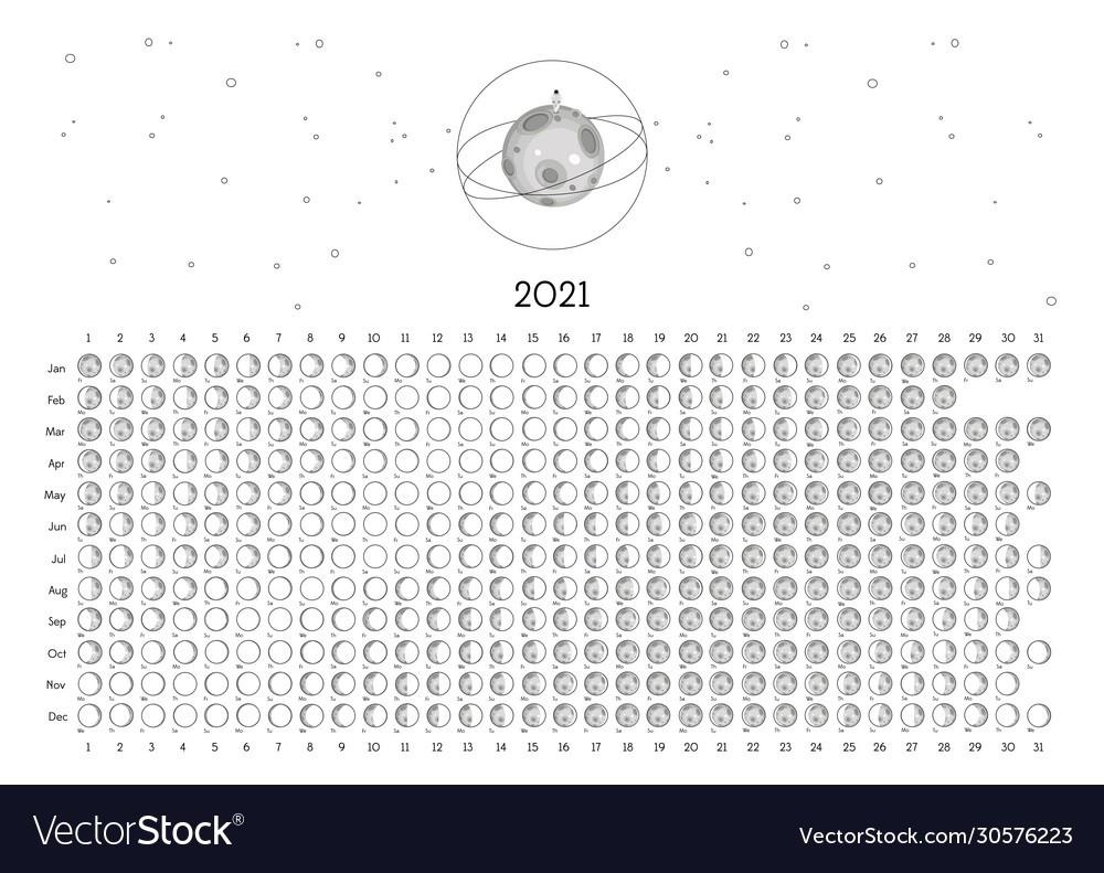 Moon Calendar 2021 Southern Hemisphere White Vector Image  Printable Lunar Calendar 2021