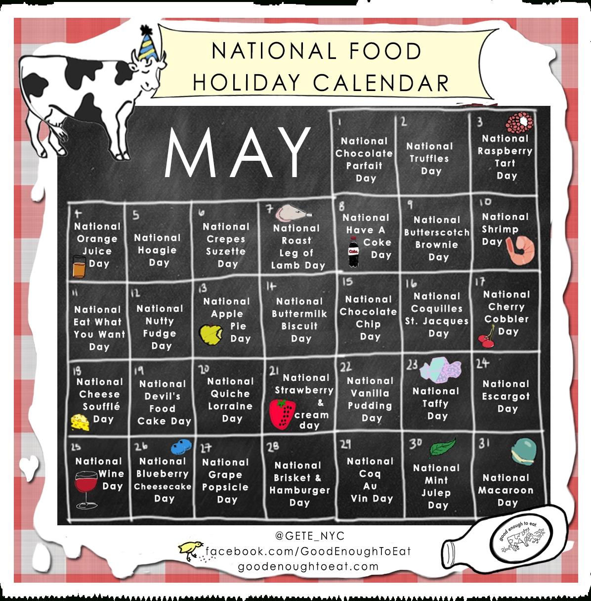 National Food Day Calendar Printable Printable Calendar 2018  Food Of The Day Calendar