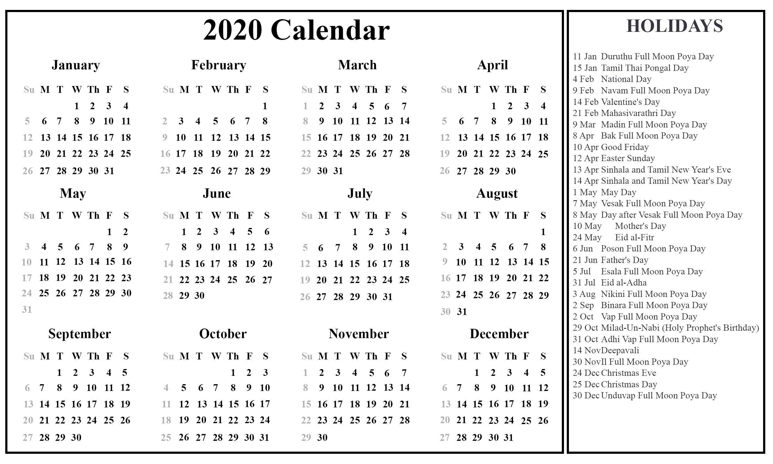 November 2020 Calendar Sri Lanka - Cprc  2021 Calender With Mercantile  Holidays