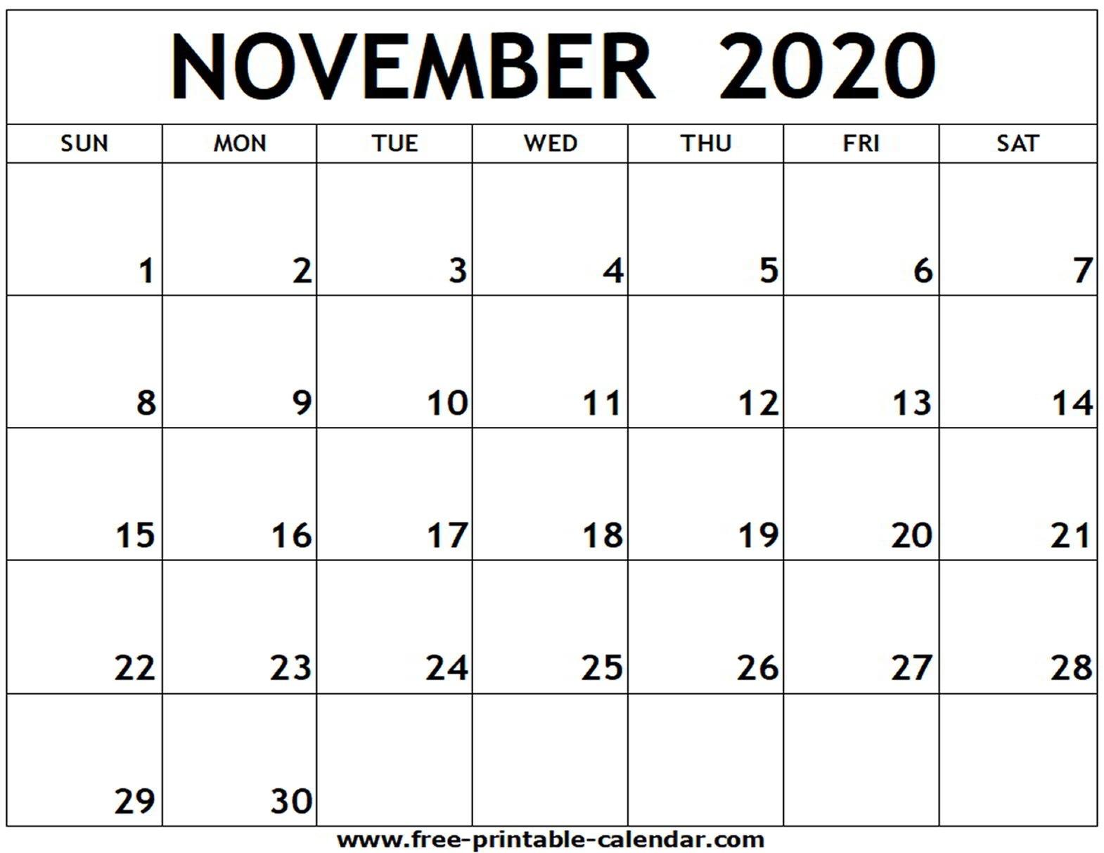November 2020 Printable Calendar - Free-Printable-Calendar  2020 Calendar Printable