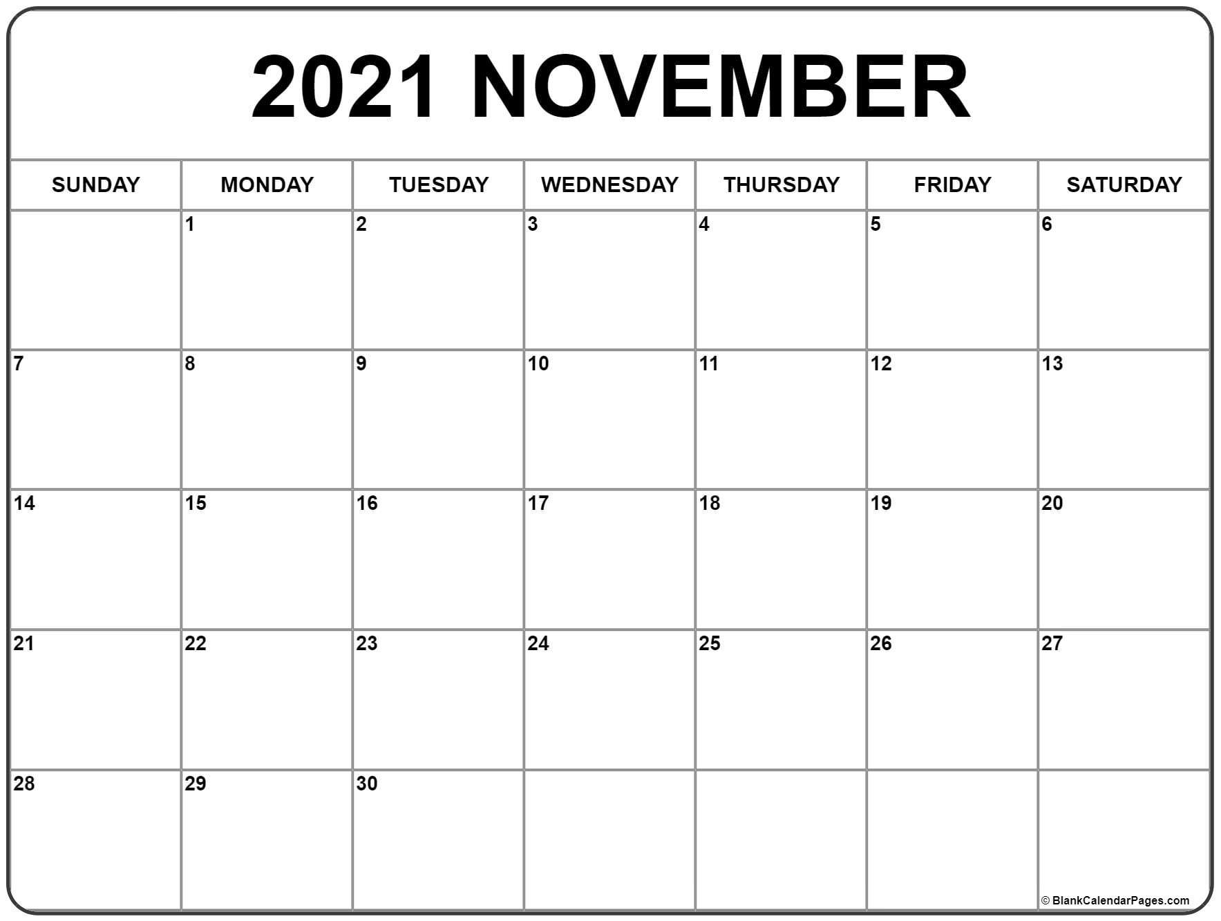 November 2021 Calendar | Free Printable Monthly Calendars  Calendar 2021 2021 2021 Printable Free