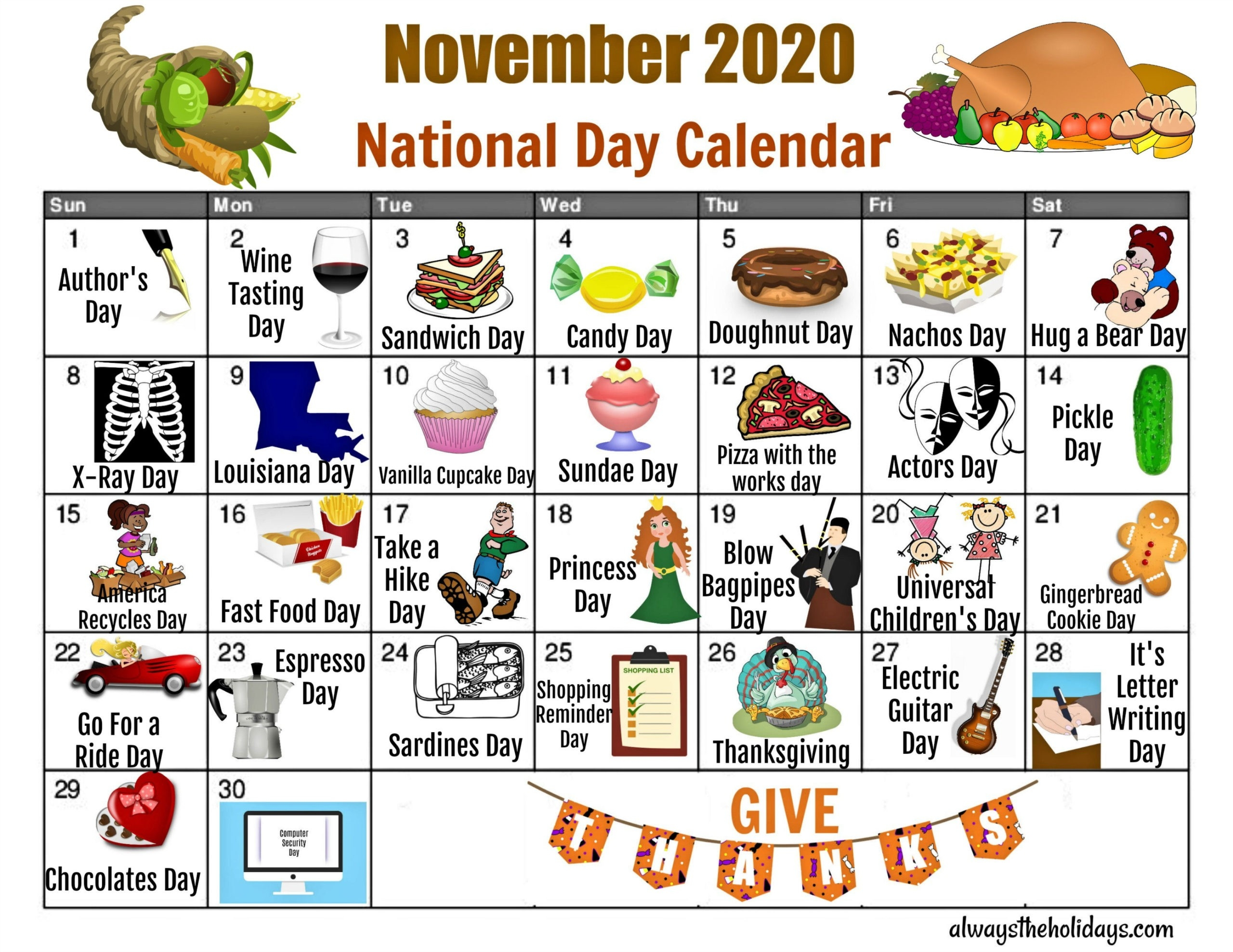 November National Day Calendar - Free Printable Calendars  Printable Calendar Of National Days 2021