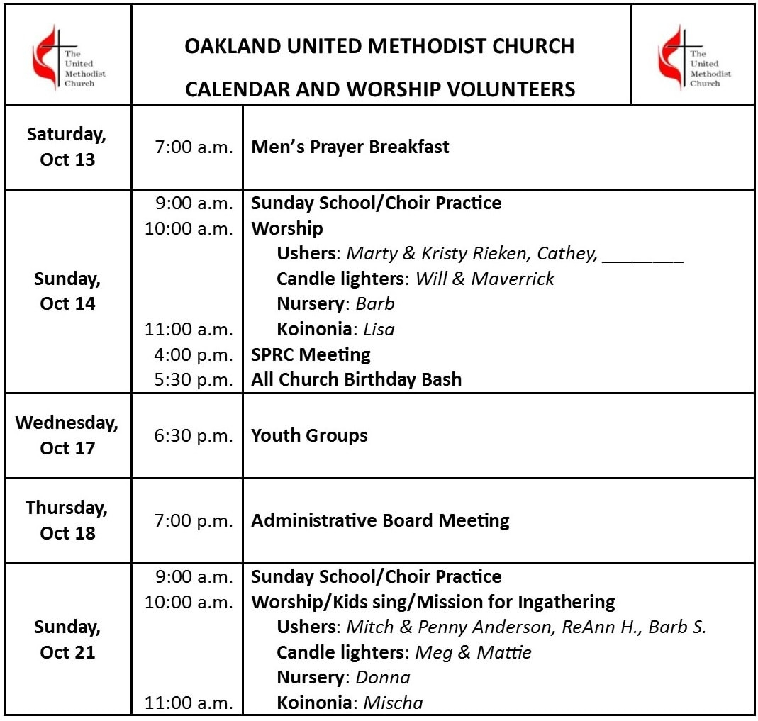 Oakland Iowa United Methodist Church Calendar  United Methodist Calendar Year