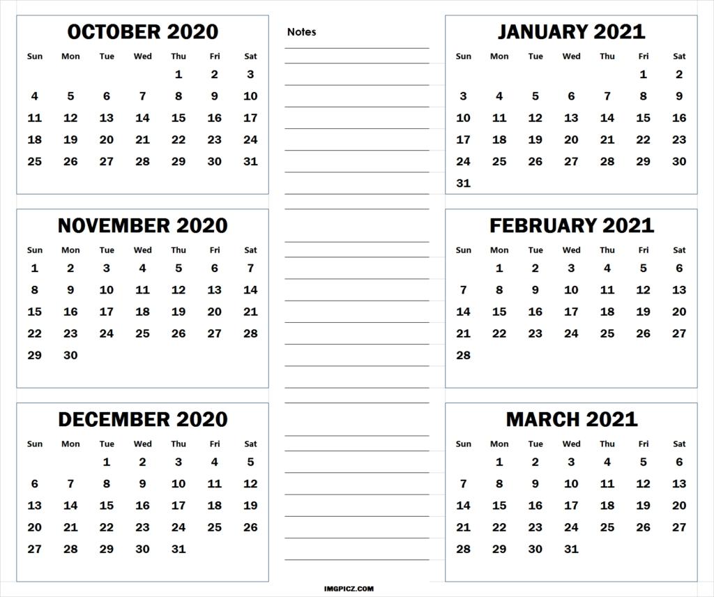 October 2020 To March 2021 Calendar Template | 6 Months 2020  Australian 20 20 Six Month Calendars Template