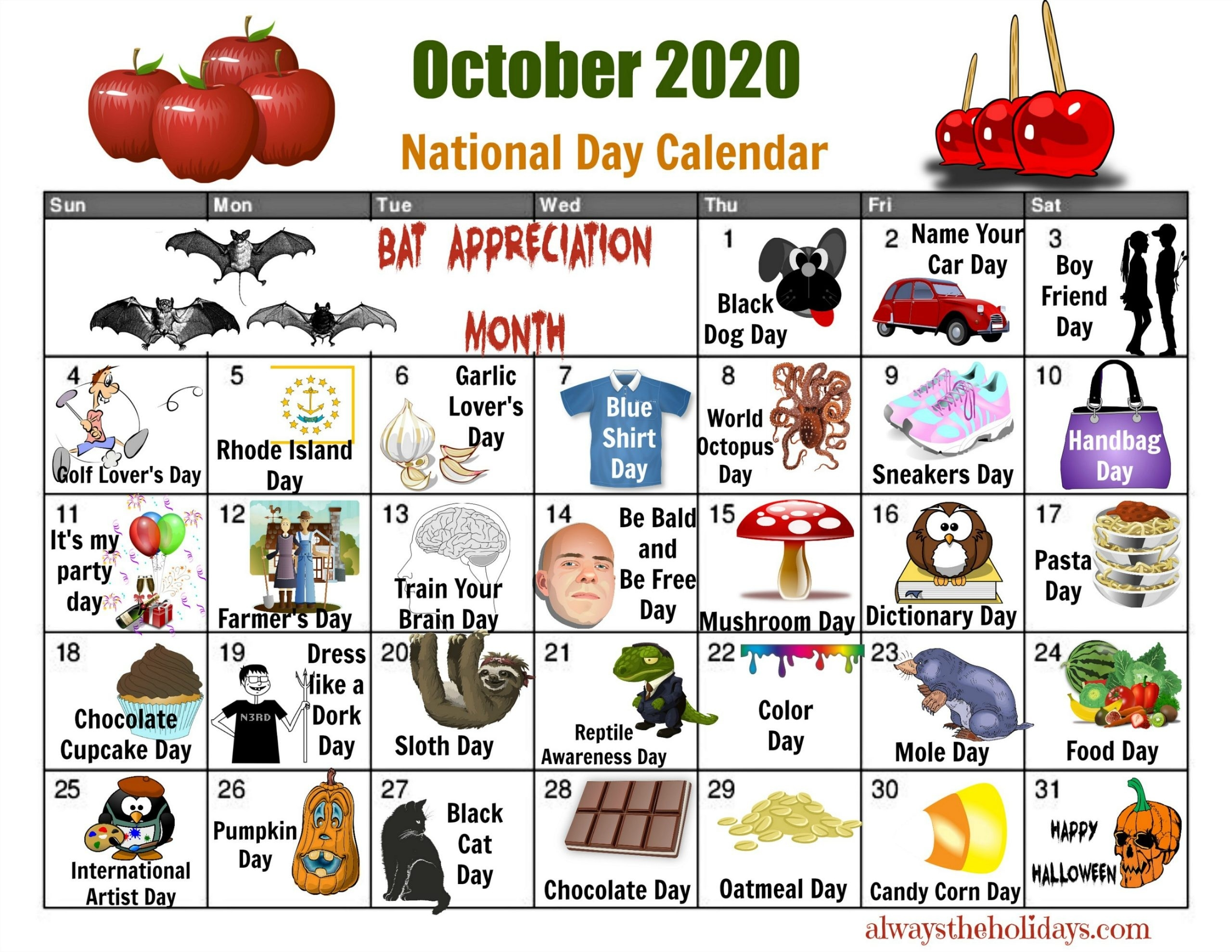 October National Day Calendar - Free Printable Calendars  Printable National Day List 2020