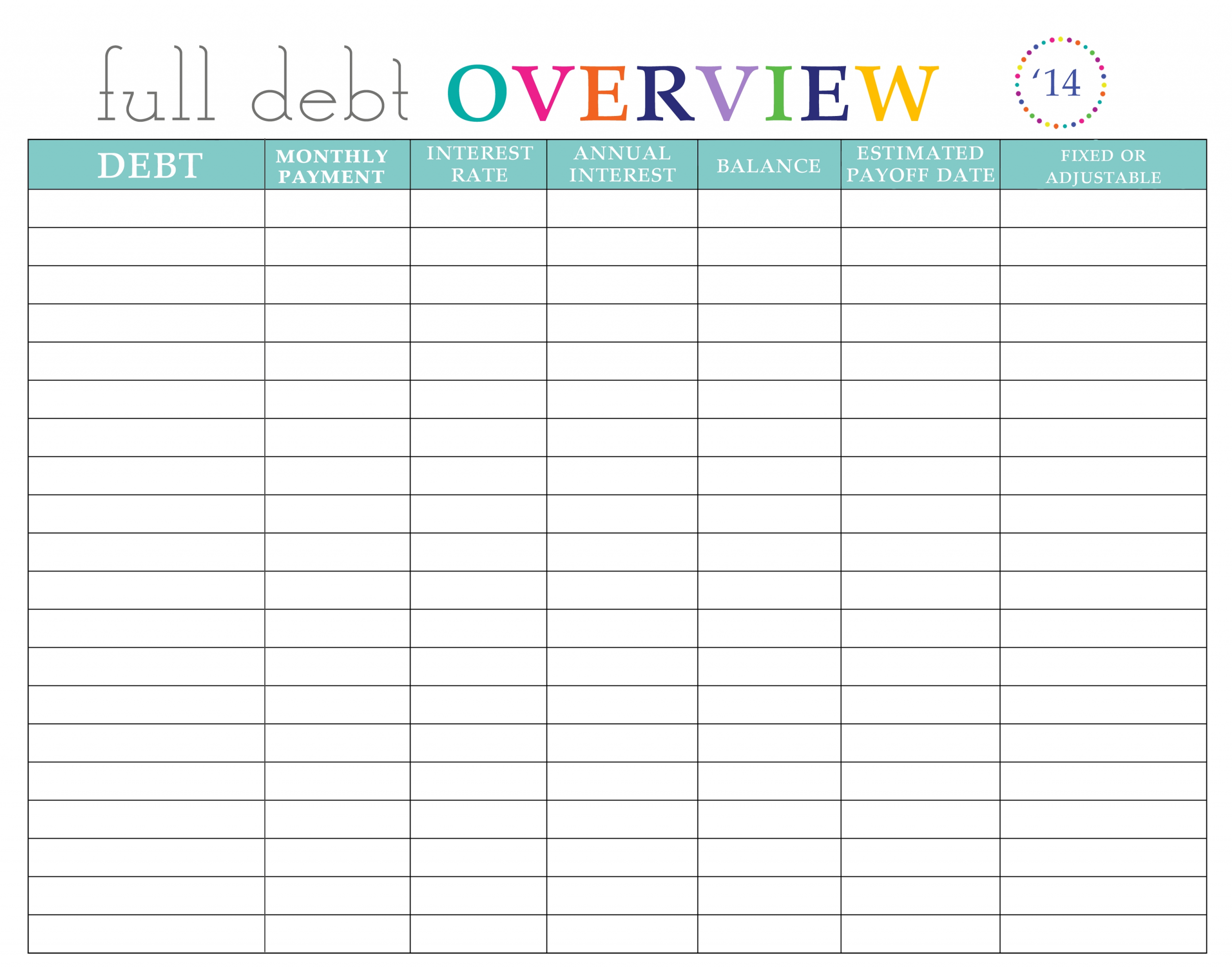 Paying Off Debt Worksheets  Monthly Payment Worbook