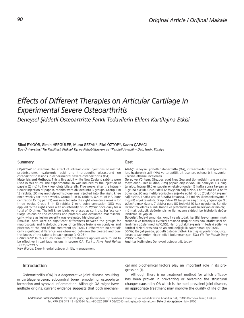Pdf) Effects Of Different Therapies On Articular Cartilage  Depomedrol Caland