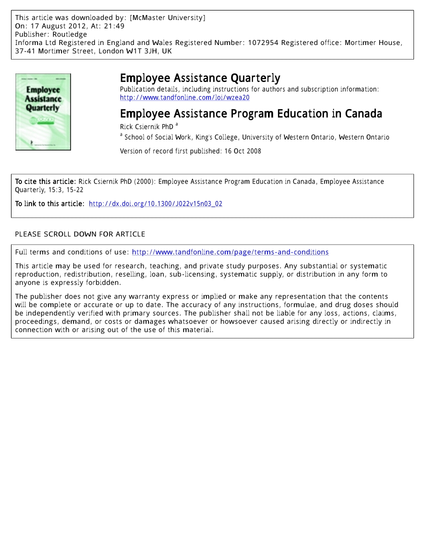 Pdf) Employee Assistance Program Education In Canada  Eap Monthly Challenge Calendar