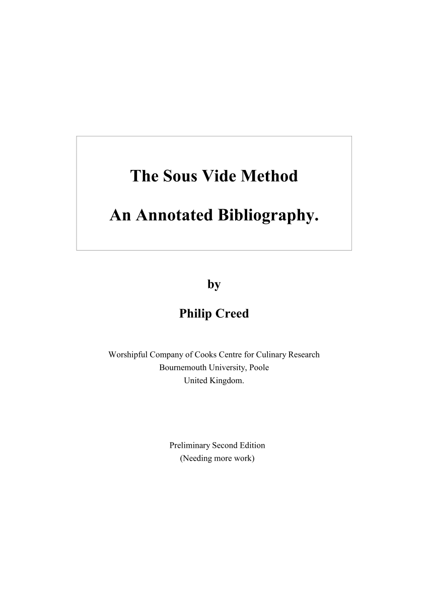 Pdf) The Sous Vide Method: An Annotated Bibliography  Dhss Menu Forms 5 Week Menu Cycle