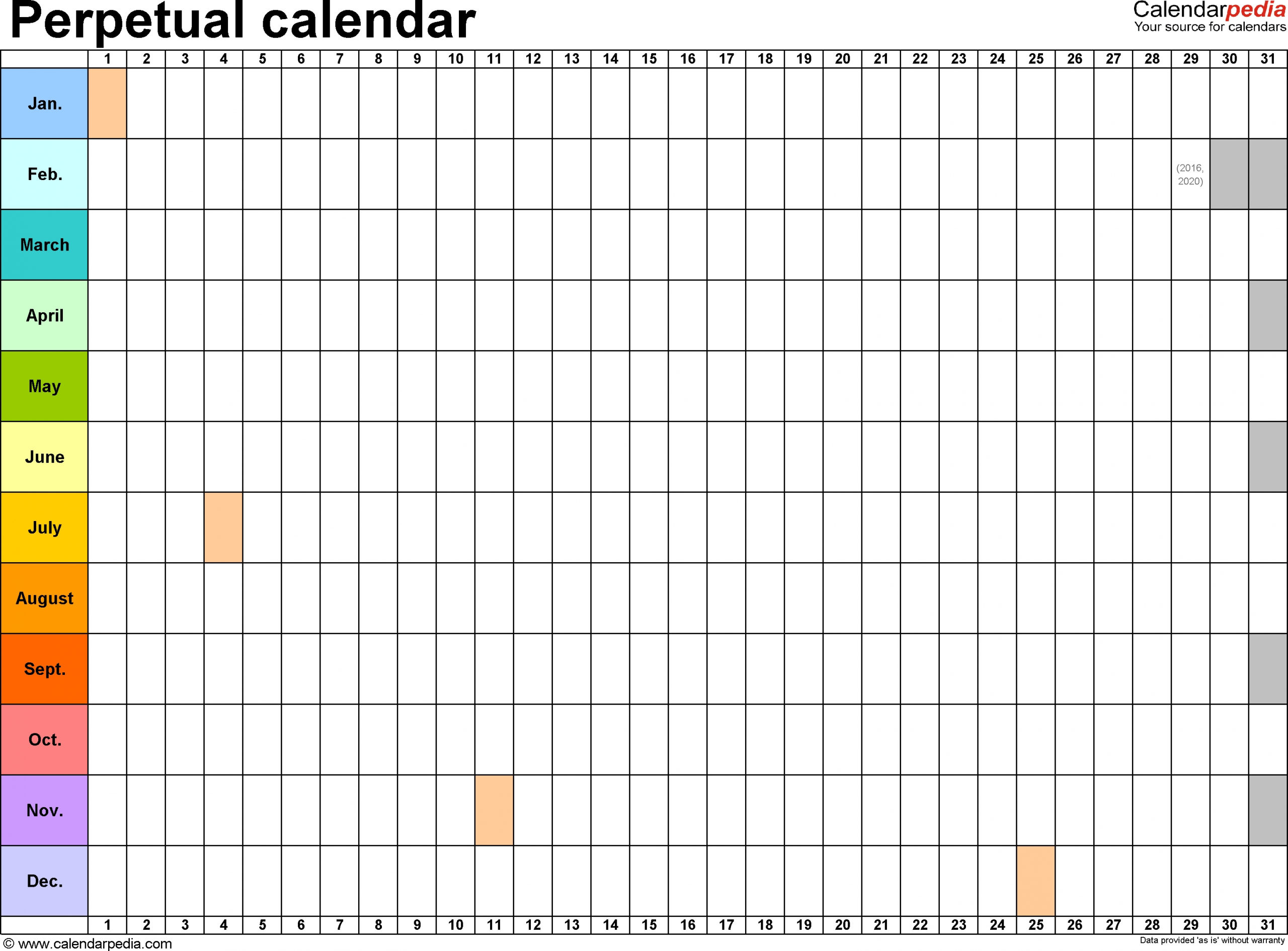 Perpetual Calendars - 7 Free Printable Word Templates  Windows 7 Word Horizontal Calendar Template