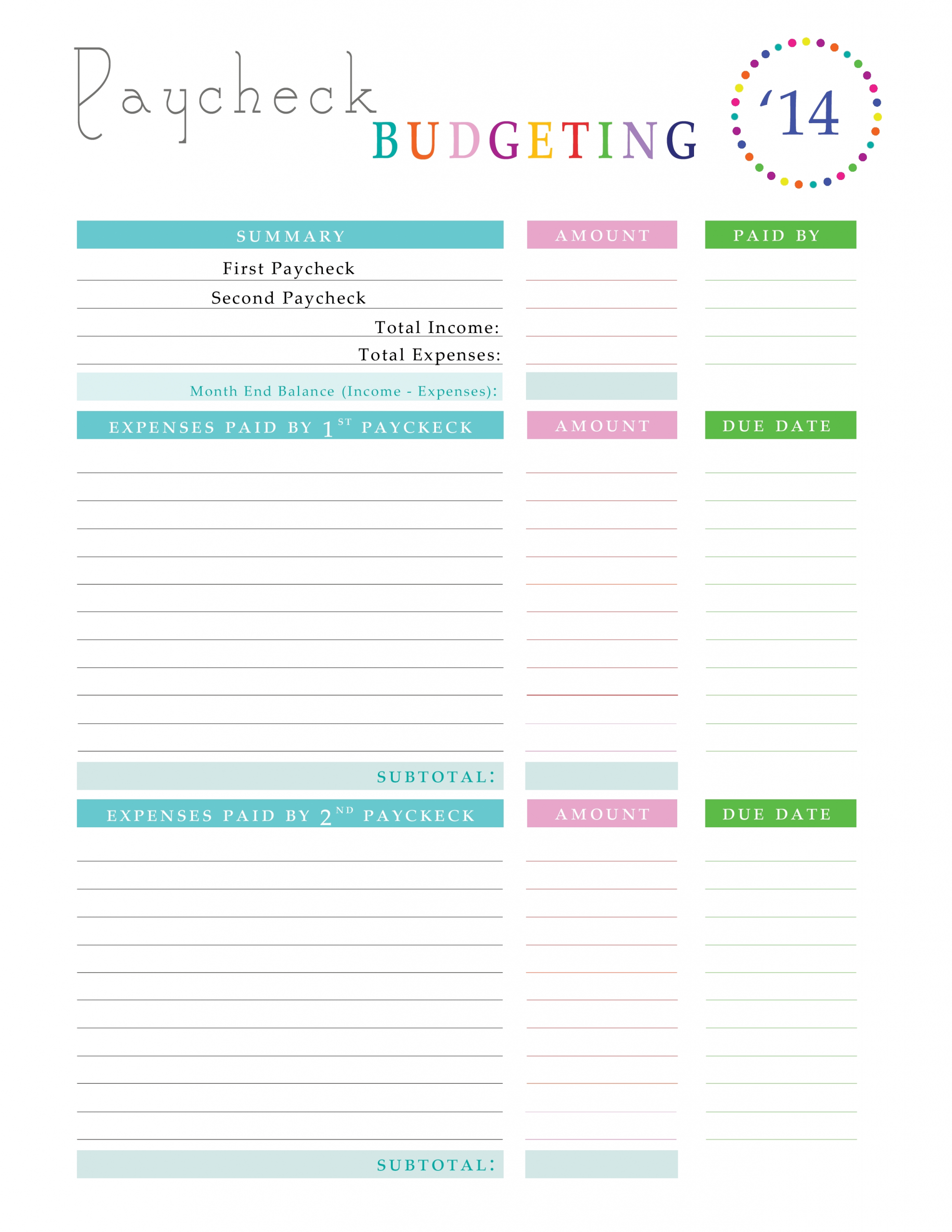 Pin On Checklists And Printables For Organizing Your House  Monthly Payment Worbook