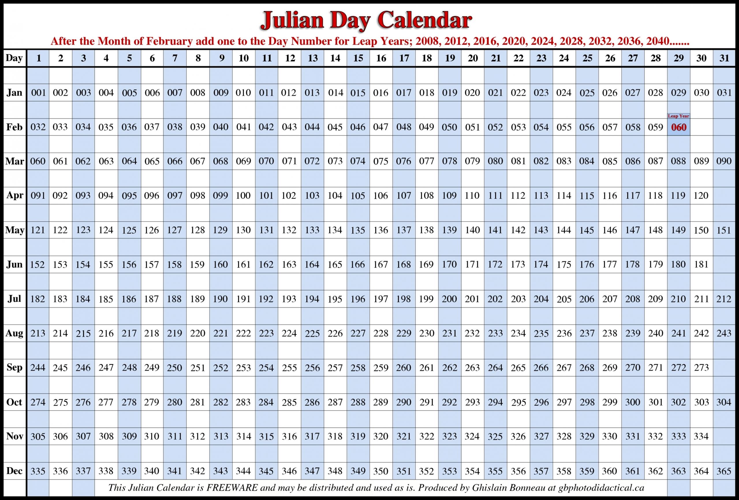 Pin On Craft Ideas  Free Printable Leap Year Julian Date Calendar 2021
