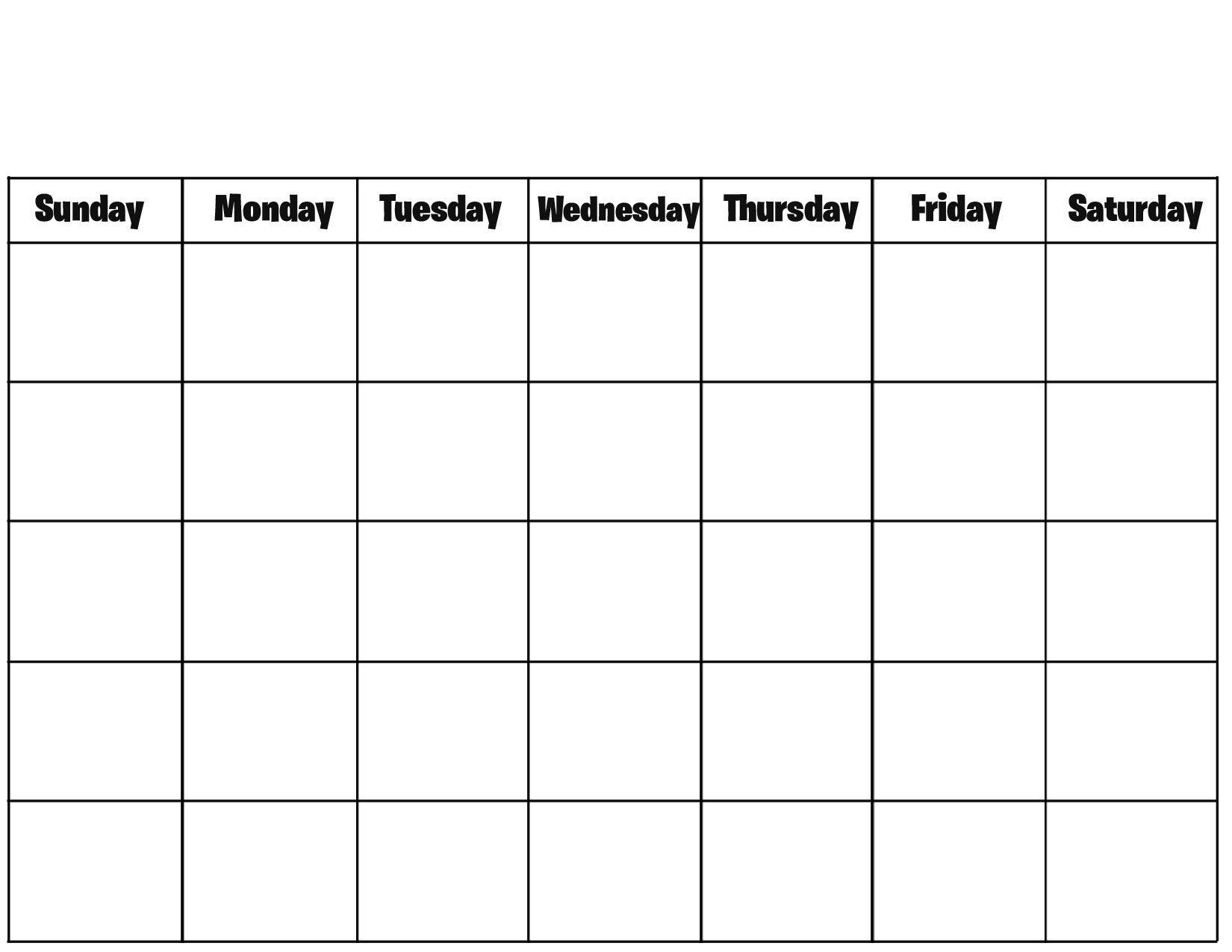 Pin On Kid Stuff  Printable Full Page Blank Calendar Template