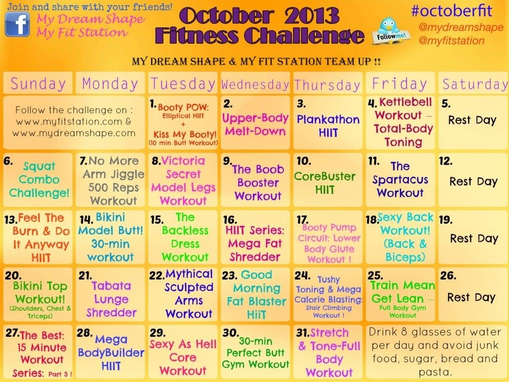 Pin On My Dream Shape Fitness  30 Day Fitness Challenge Printable For Studios