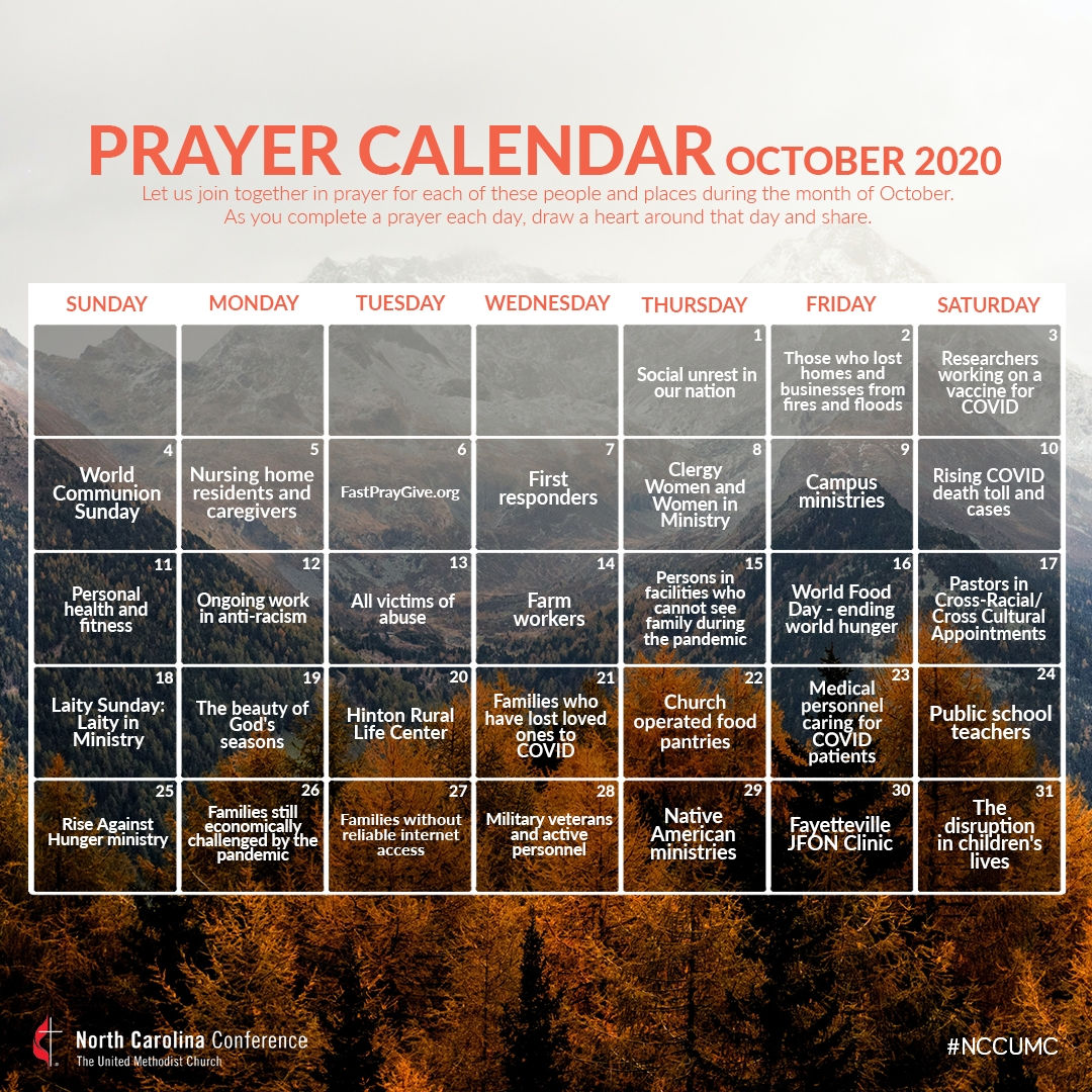 Pray With The Nc Conference In October - Nc Conference  Printable Umc 2021 Leneten Calendar