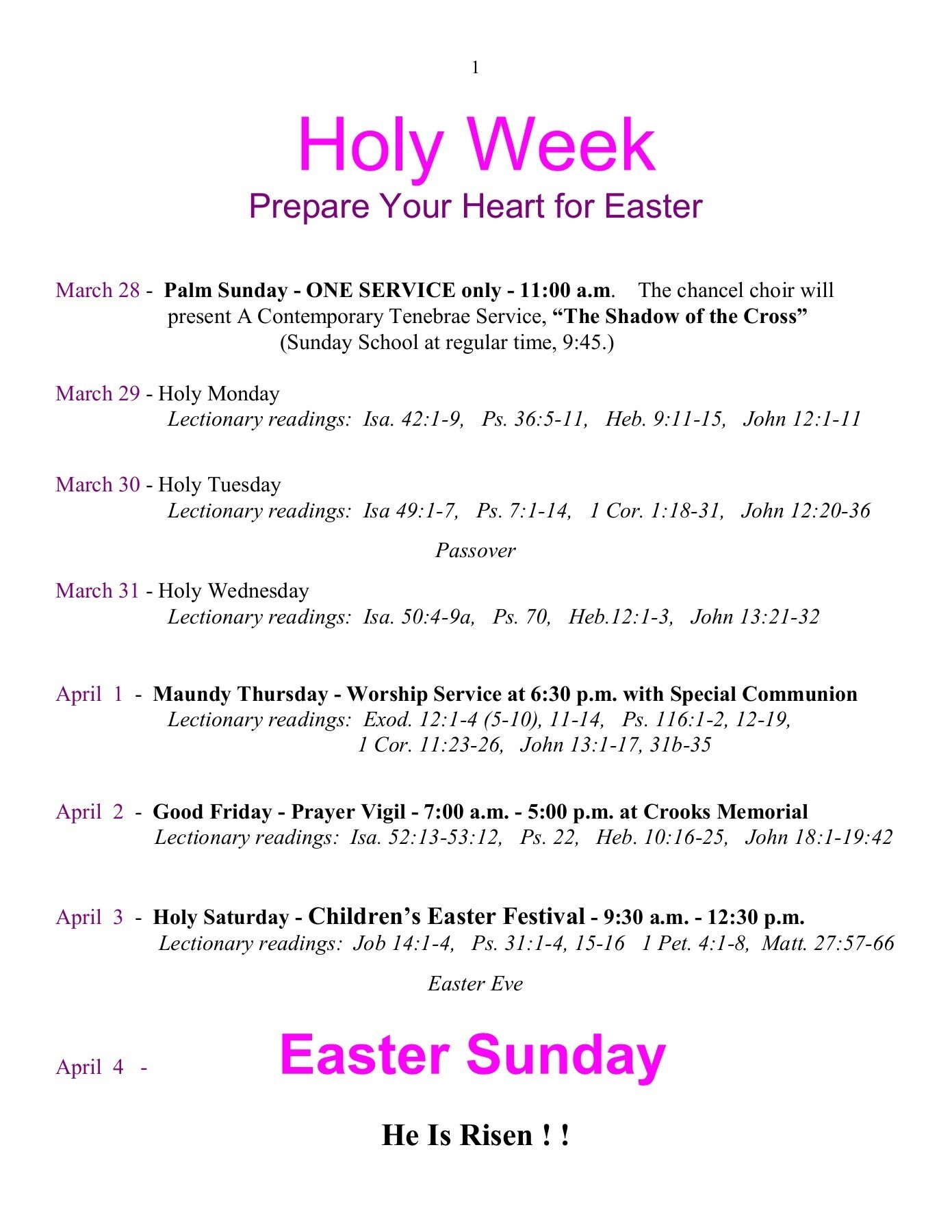 Prepare Your Heart For Easter - Crooks Memorial Umc Pages 1  Umc Lectionary