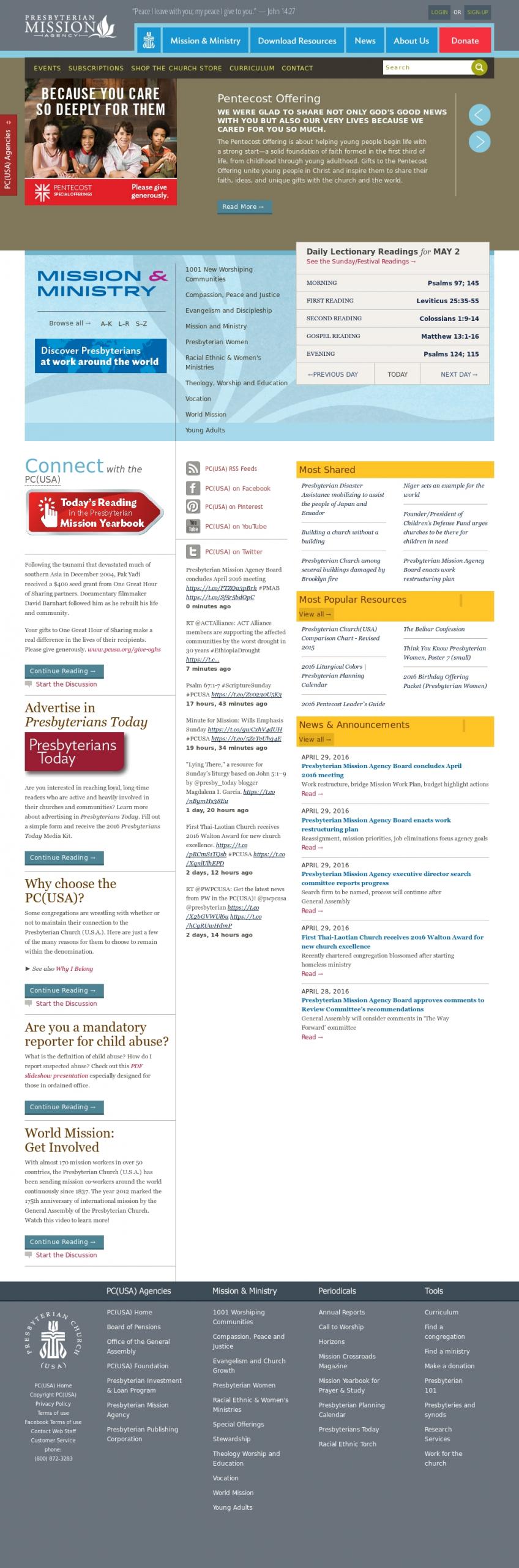 Presbyterian Church (U.s.a.)'S Competitors, Revenue, Number  Presbyterian Usa Liturgical Calendar