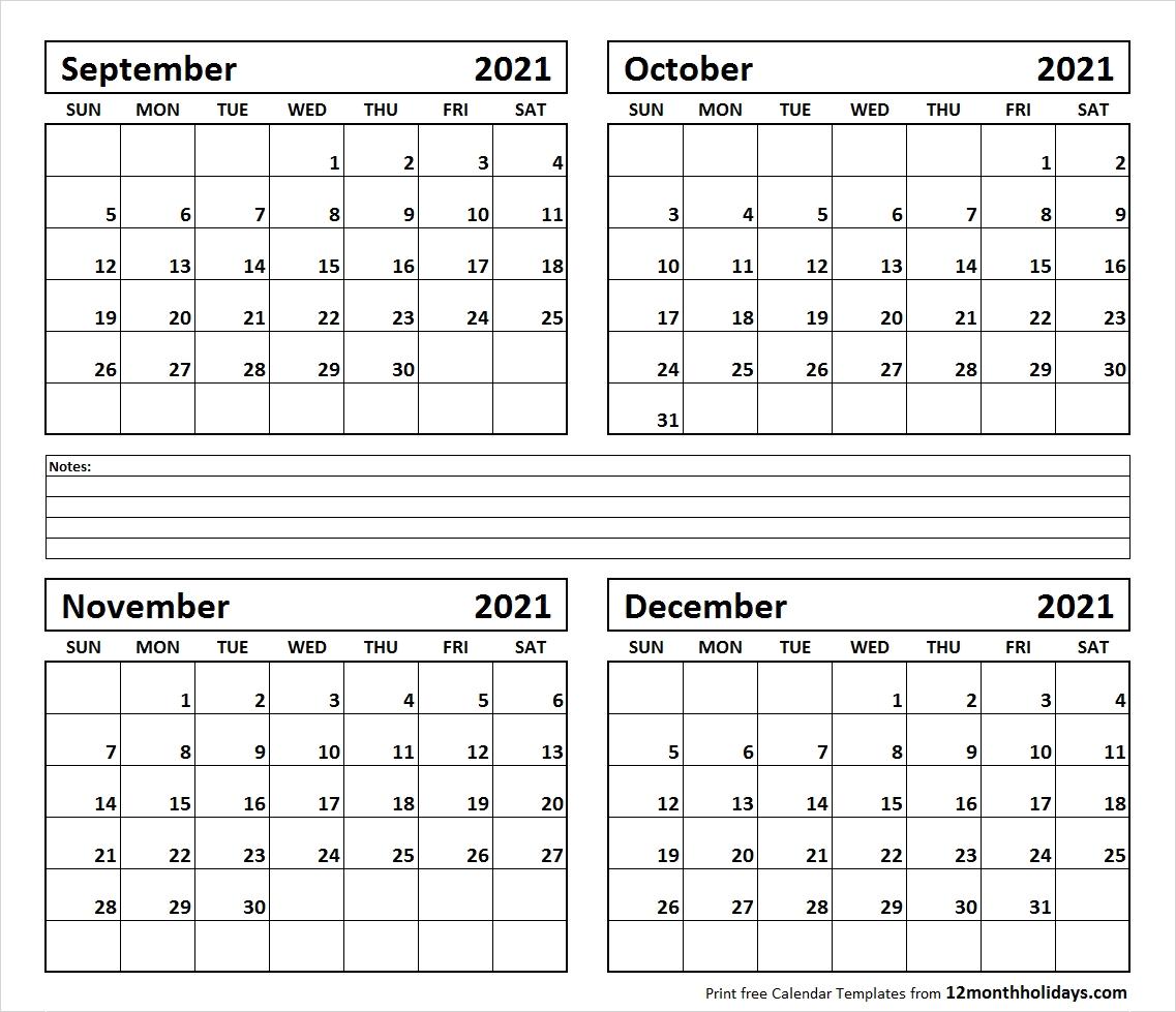 Print Four Month September October November December 2021  Two Month Sept And October Calendar 2021