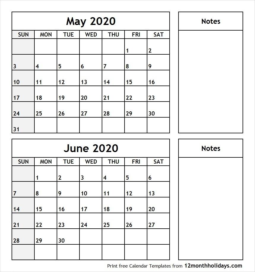 Print May June 2020 Calendar Template   2 Month Calendar  Printable 2 Month Calendar