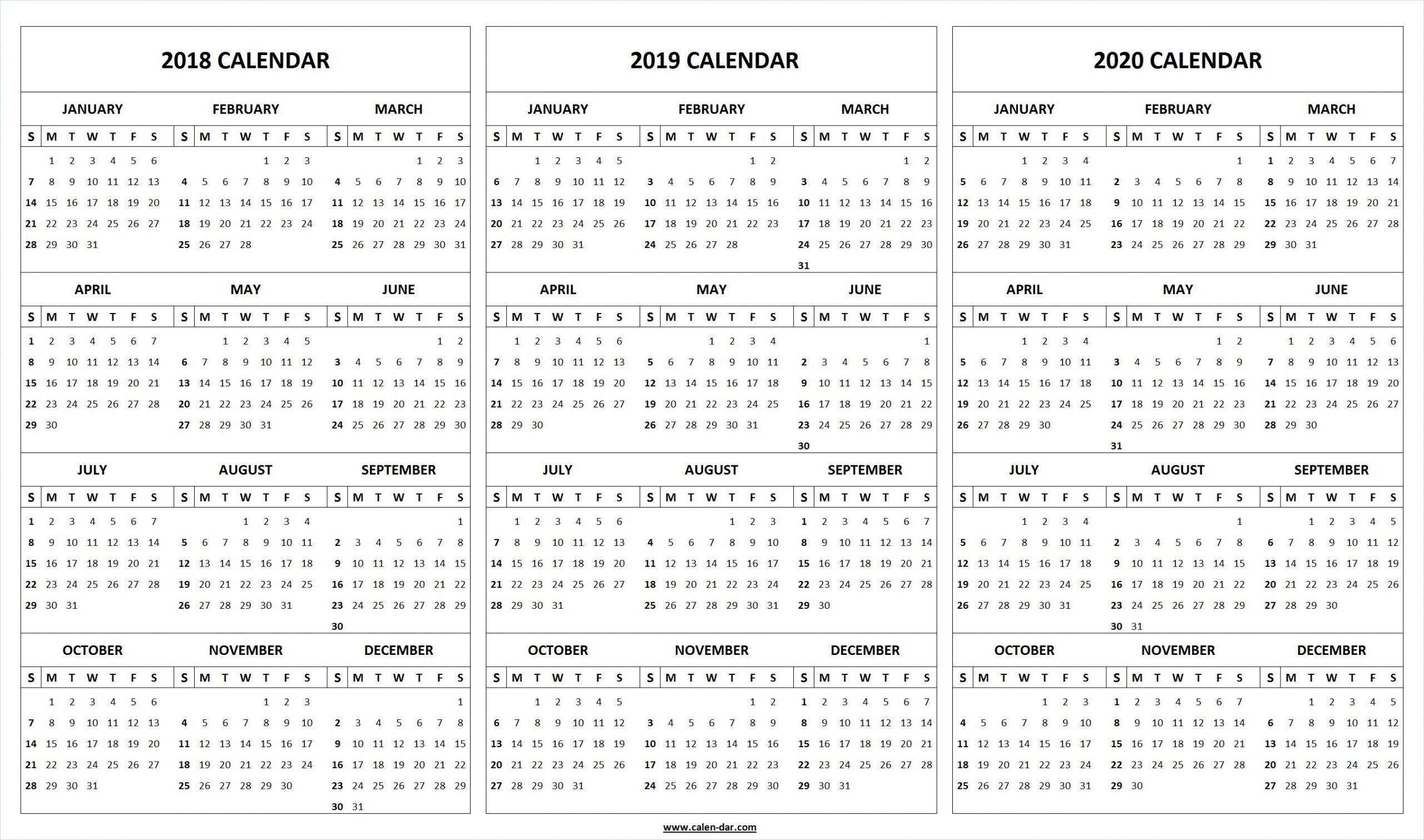Printable 2018 2019 2020 Calendar Template | 3-Year Editable  Checkbook Size Calendar Printable