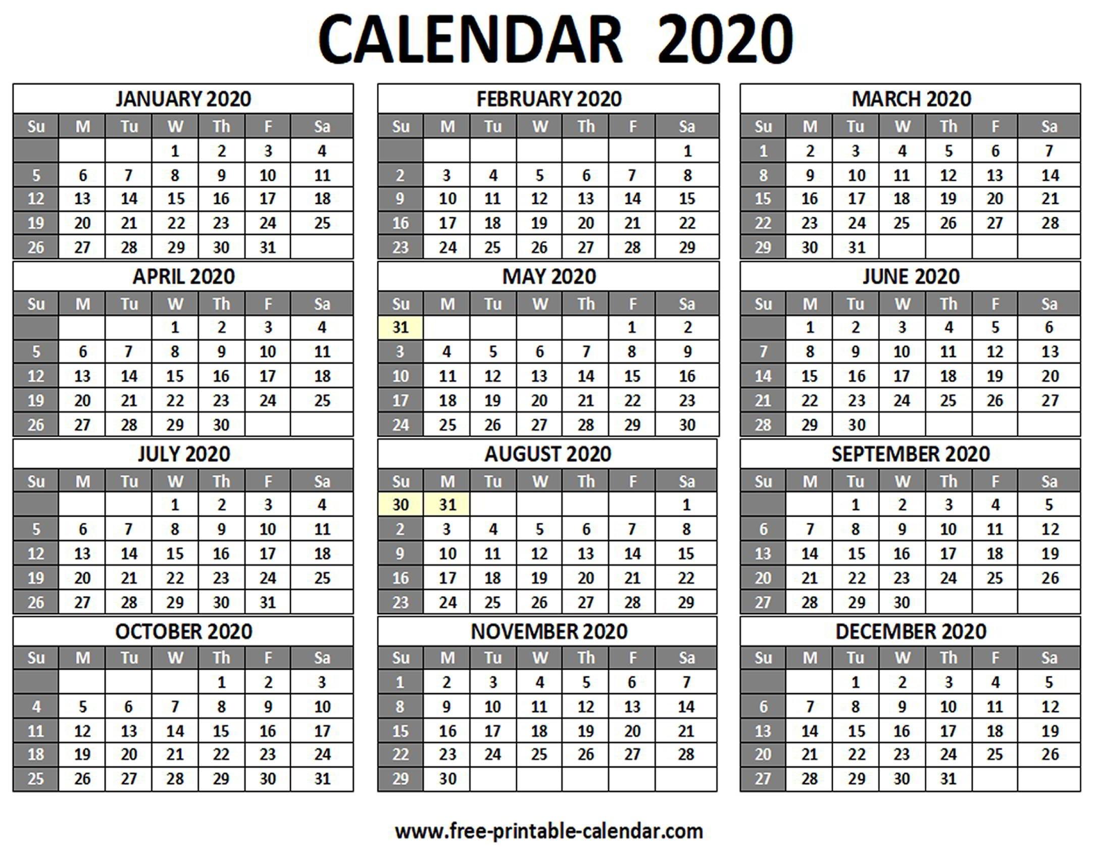 Printable 2020 Calendar - Free-Printable-Calendar  Free Printable Calendar 12 Months