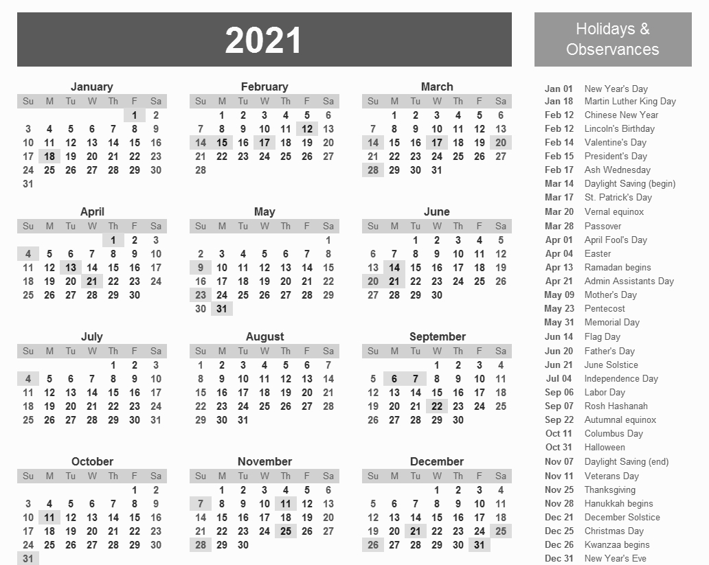 Printable 2021 Calendar With Holidays In 2020 | Printable  Julien Code 2021