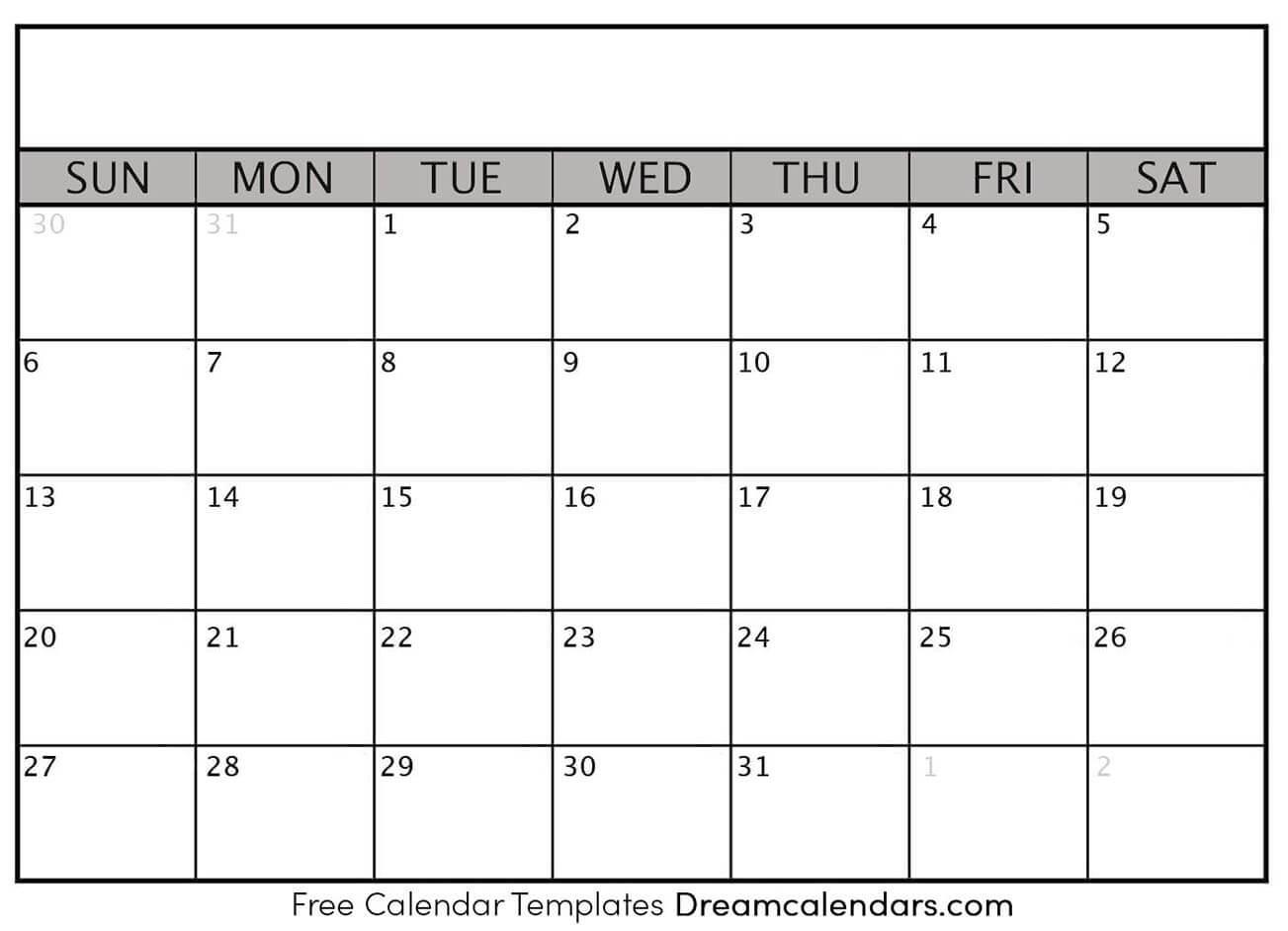 Printable Blank Calendar 2021 | Dream Calendars  Full Page Blank Calendar