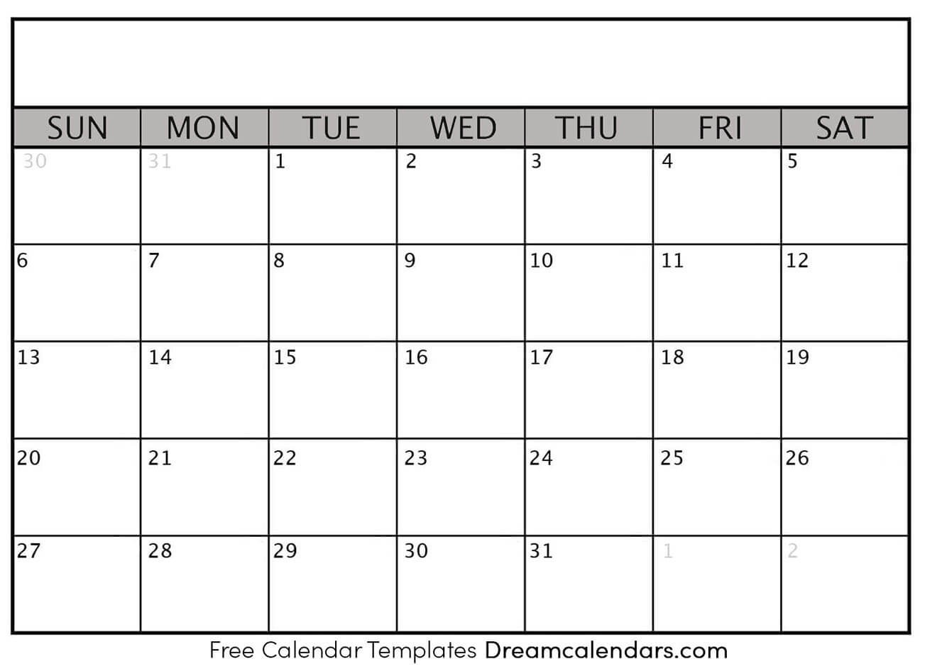 Printable Blank Calendar 2021 | Dream Calendars  Printable Full Page Blank Calendar Template