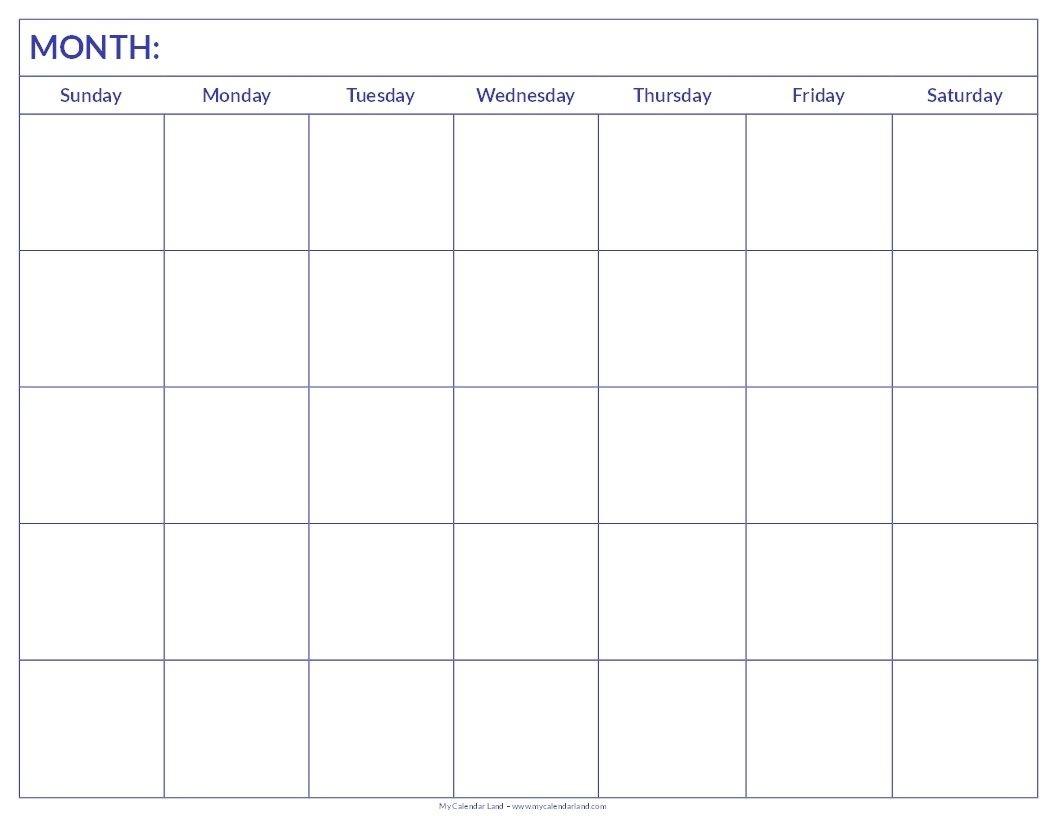 Printable Blank Calendar | Blank Calendar Pages, Printable  Full Page Calendar Print Out