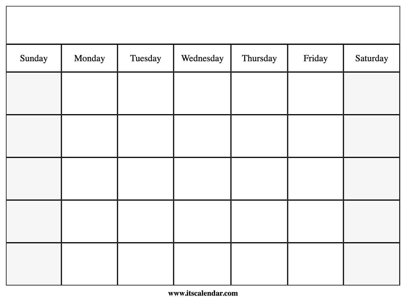 Printable Blank Calendar  Blank Calendar Template With Lines