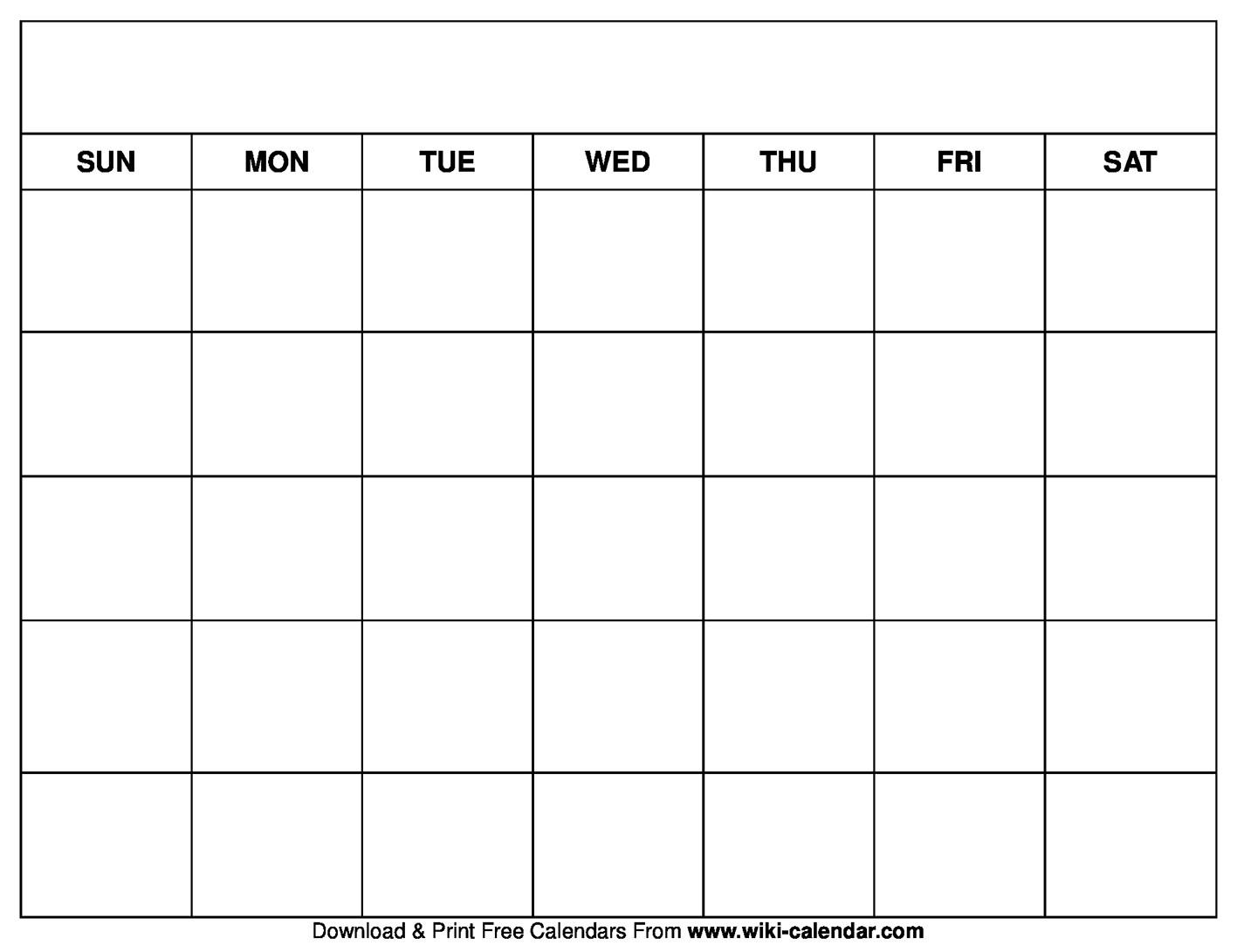 Printable Blank Calendar Templates  Printable Full Page Blank Calendar Template