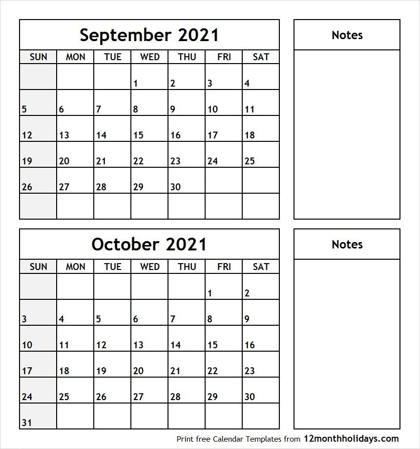 Printable Blank Two Month Calendar September October 2021  Two Month Sept And October Calendar 2021