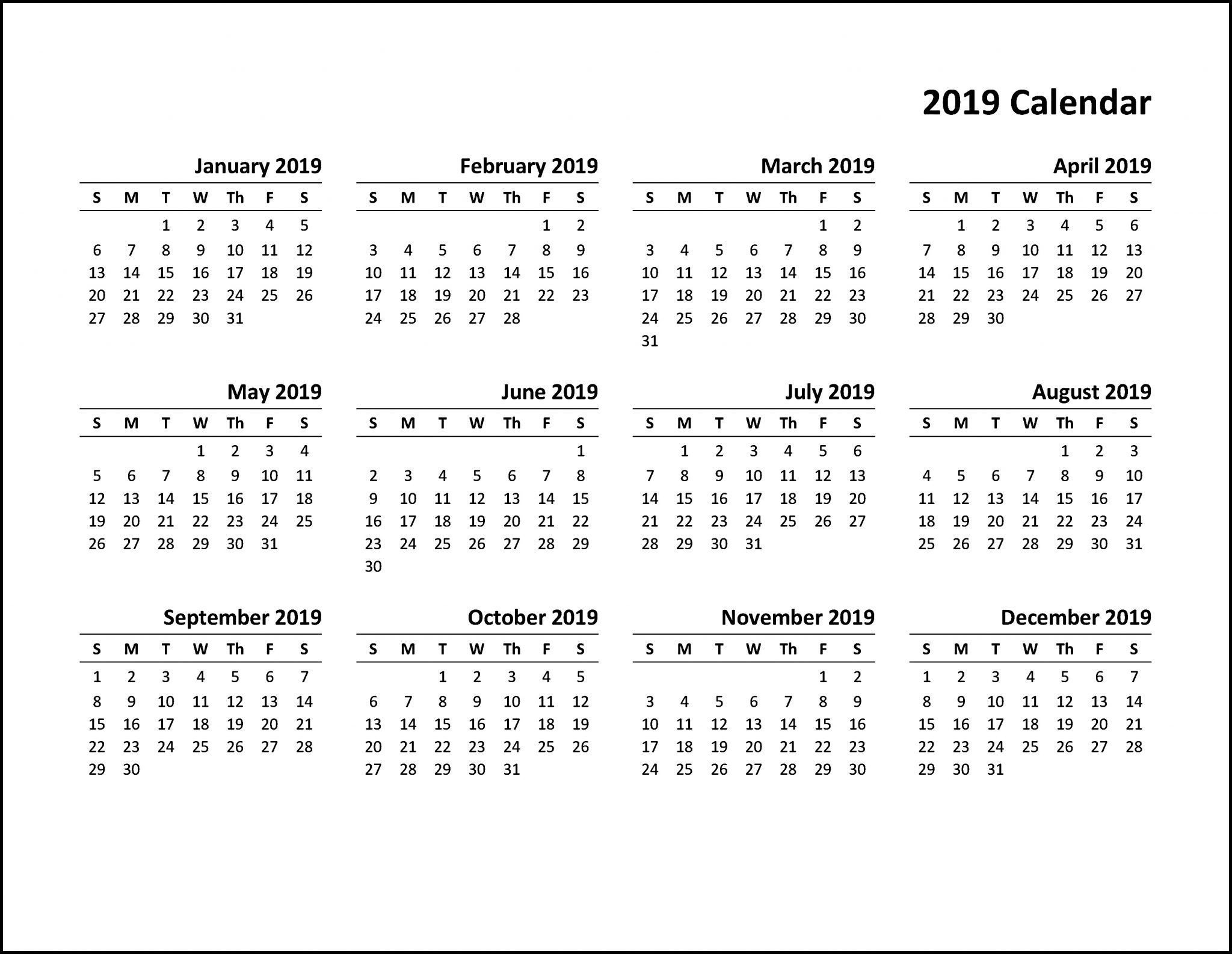 Printable Calendar 2019 Pdf | Calendar Template, Free  Checkbook Size Calendar Printable