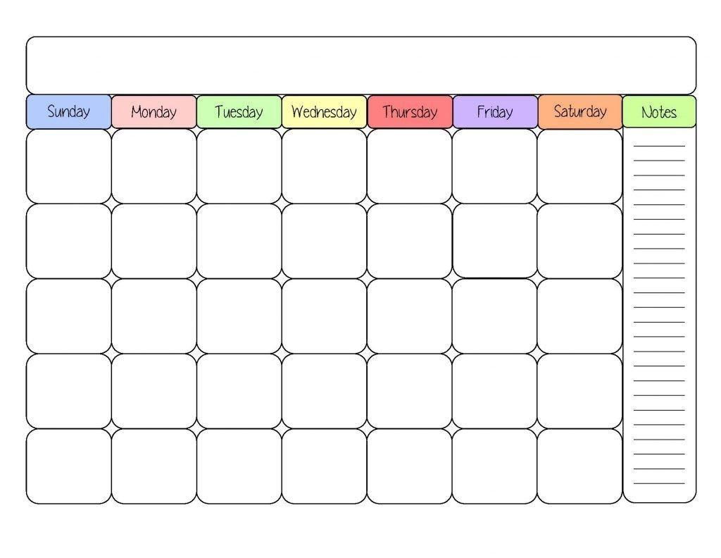 Printable Calendar Template Example Large Free Printable  Large Blank Monthly Calendar Template