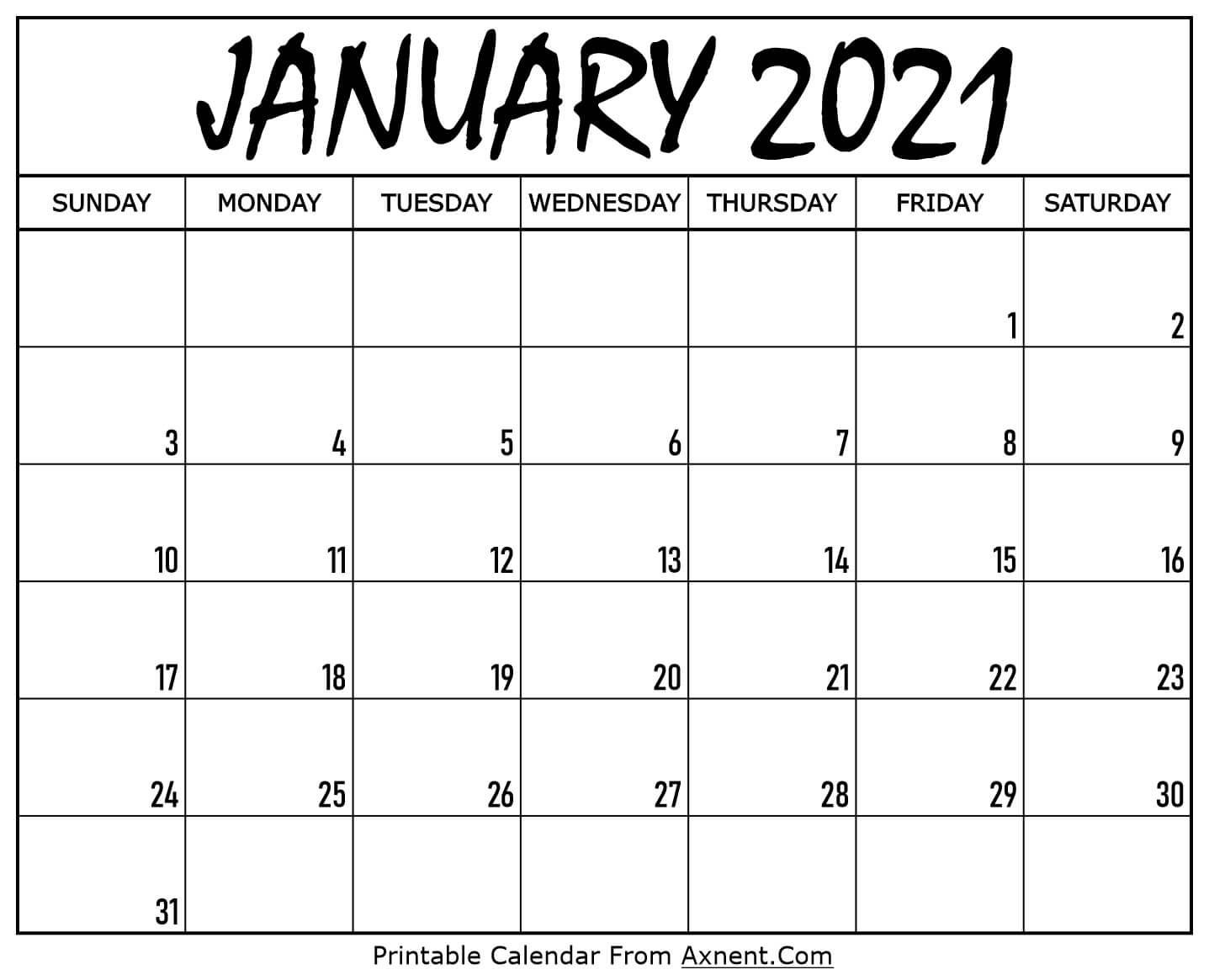 Printable January 2021 Calendar Template - Time Management  A3 Calendar Template