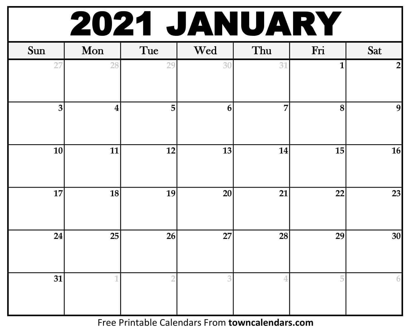 Printable January 2021 Calendar - Towncalendars  Calendar 2021 With Gregorian Dates