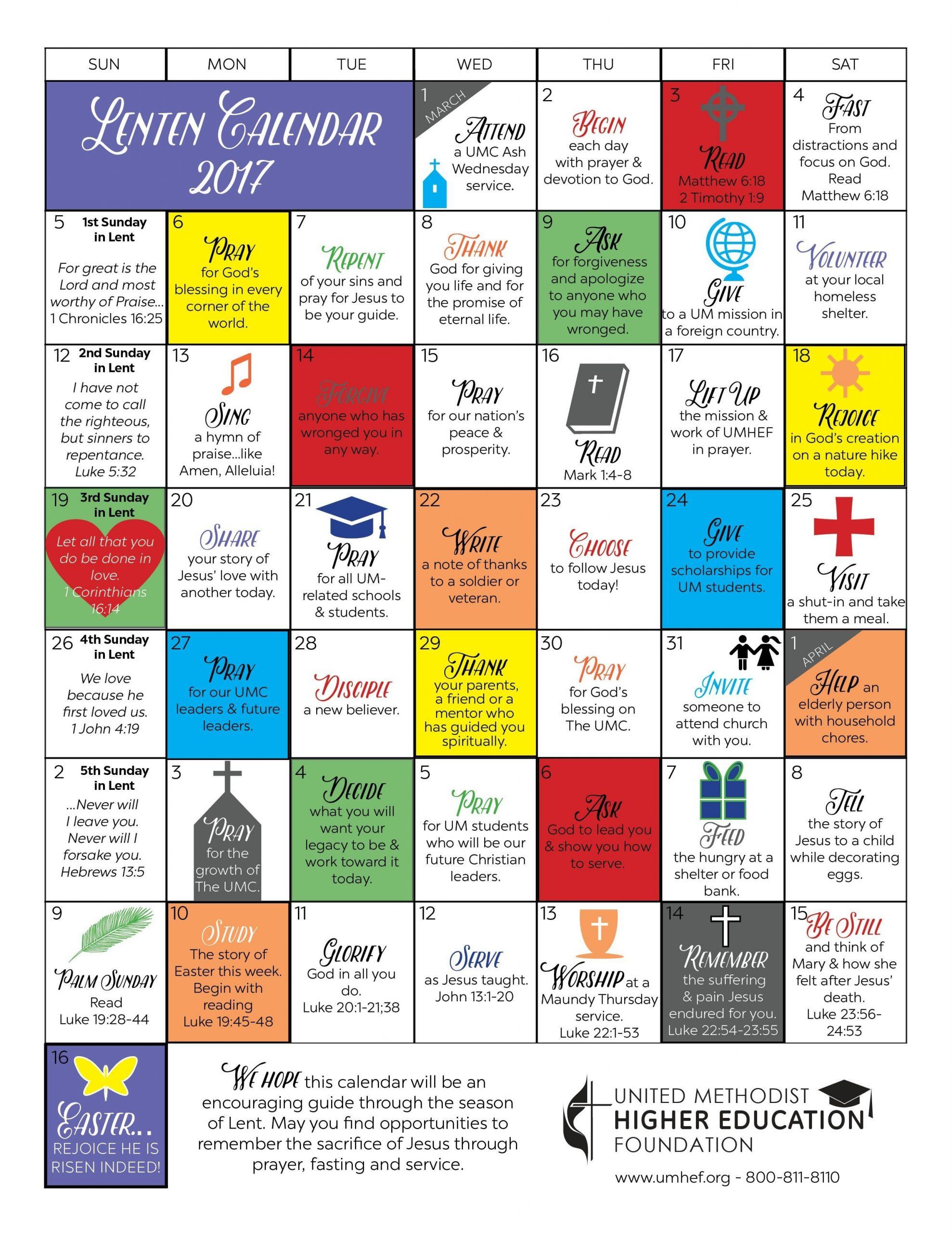 Printable Lent Calendar | United Methodist Higher Education  Methodist Color For Lent 2020