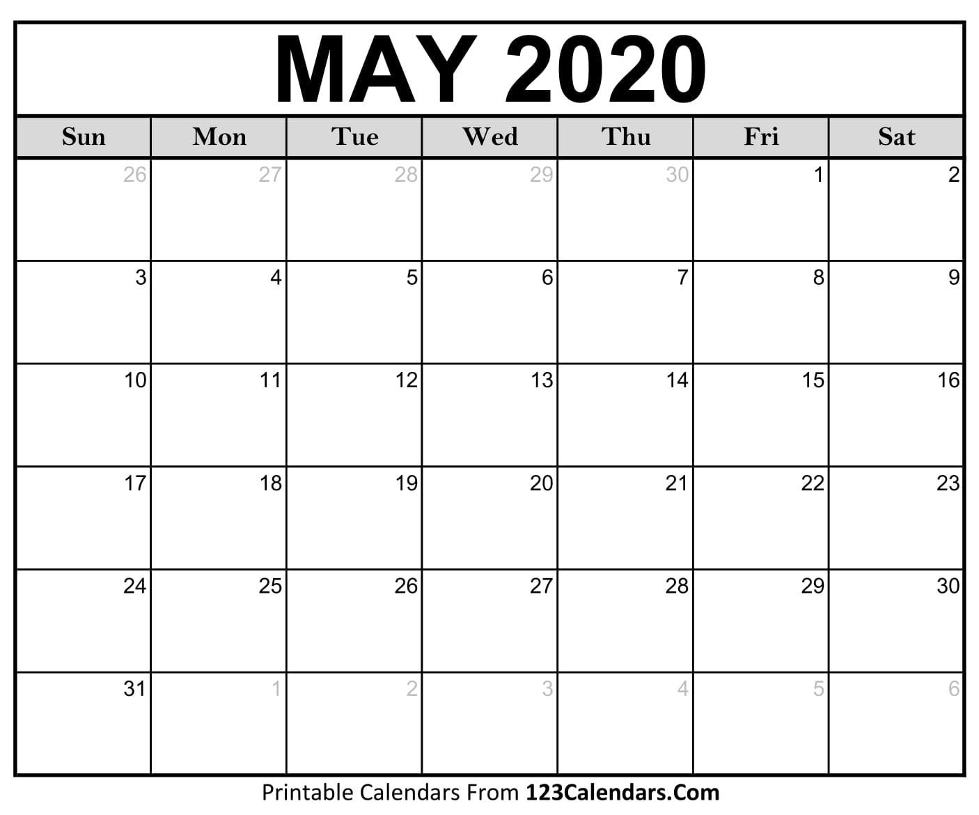 Printable May 2020 Calendar Templates | 123Calendars  May 2020 Calendar Printable