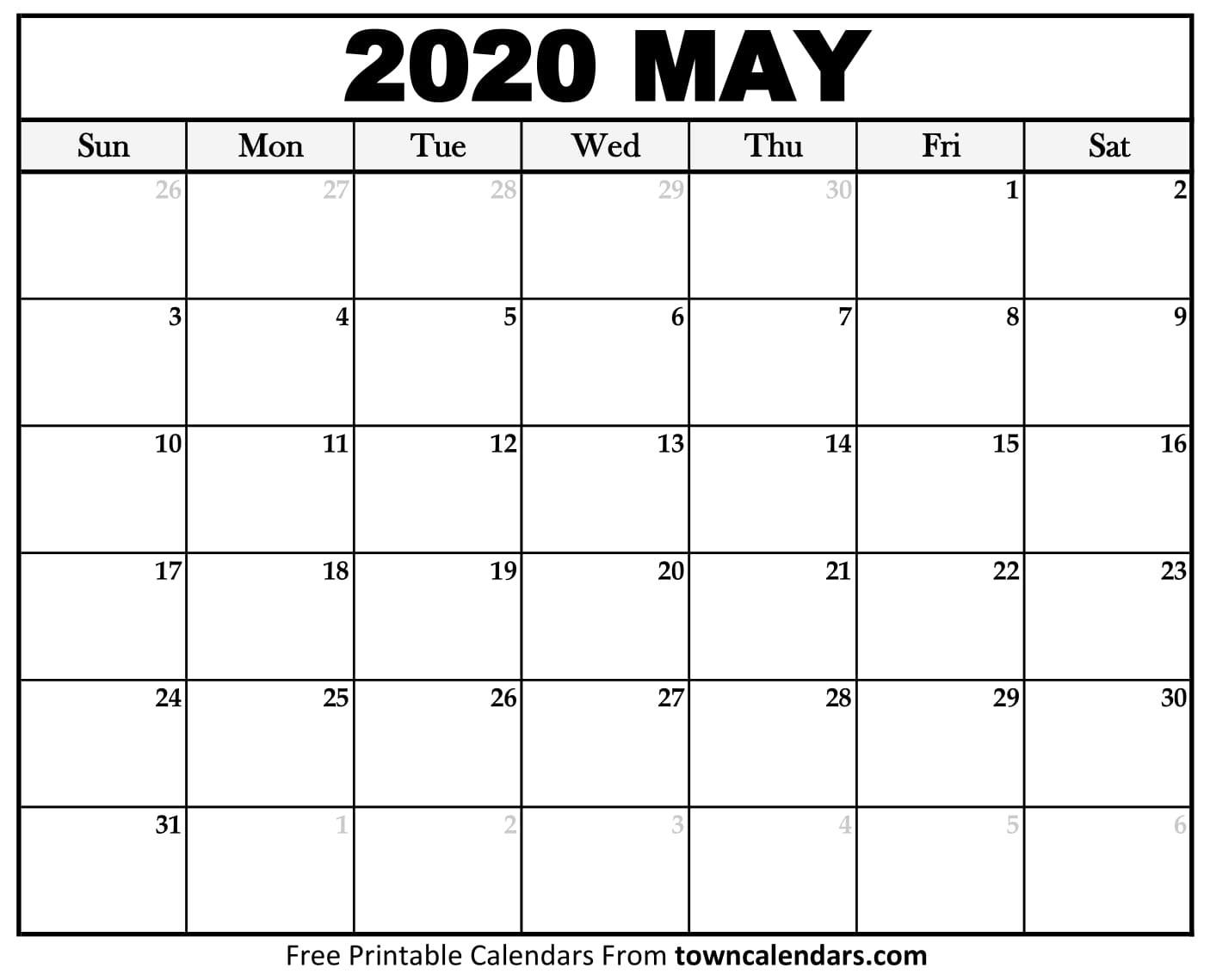 Printable May 2020 Calendar - Towncalendars  May 2020 Calendar Printable