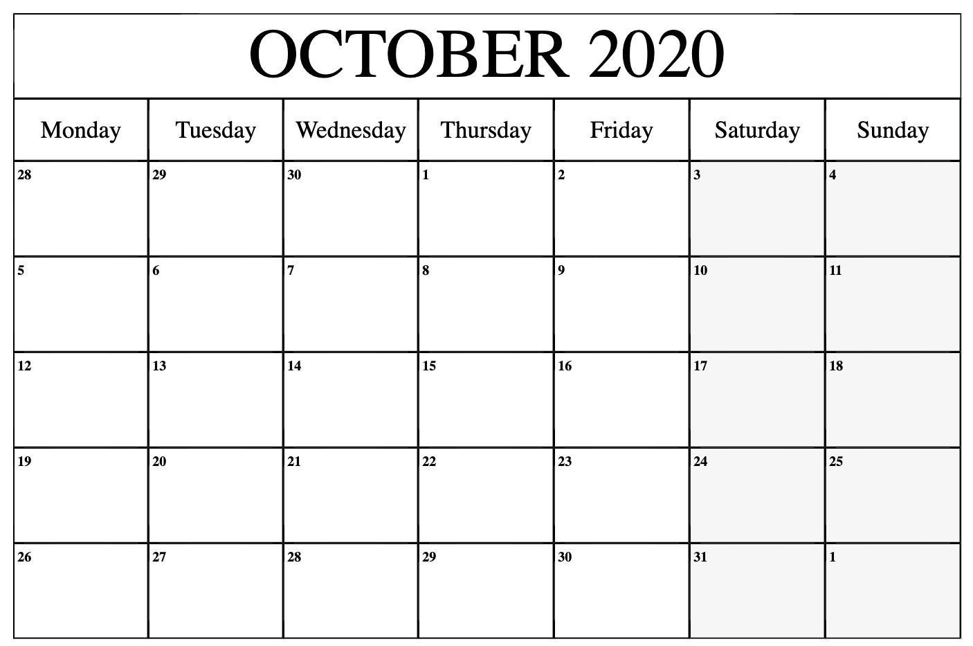 Printable Monthly Calendar Templates ~ Addictionary  Printable Monthly Calendar Templates