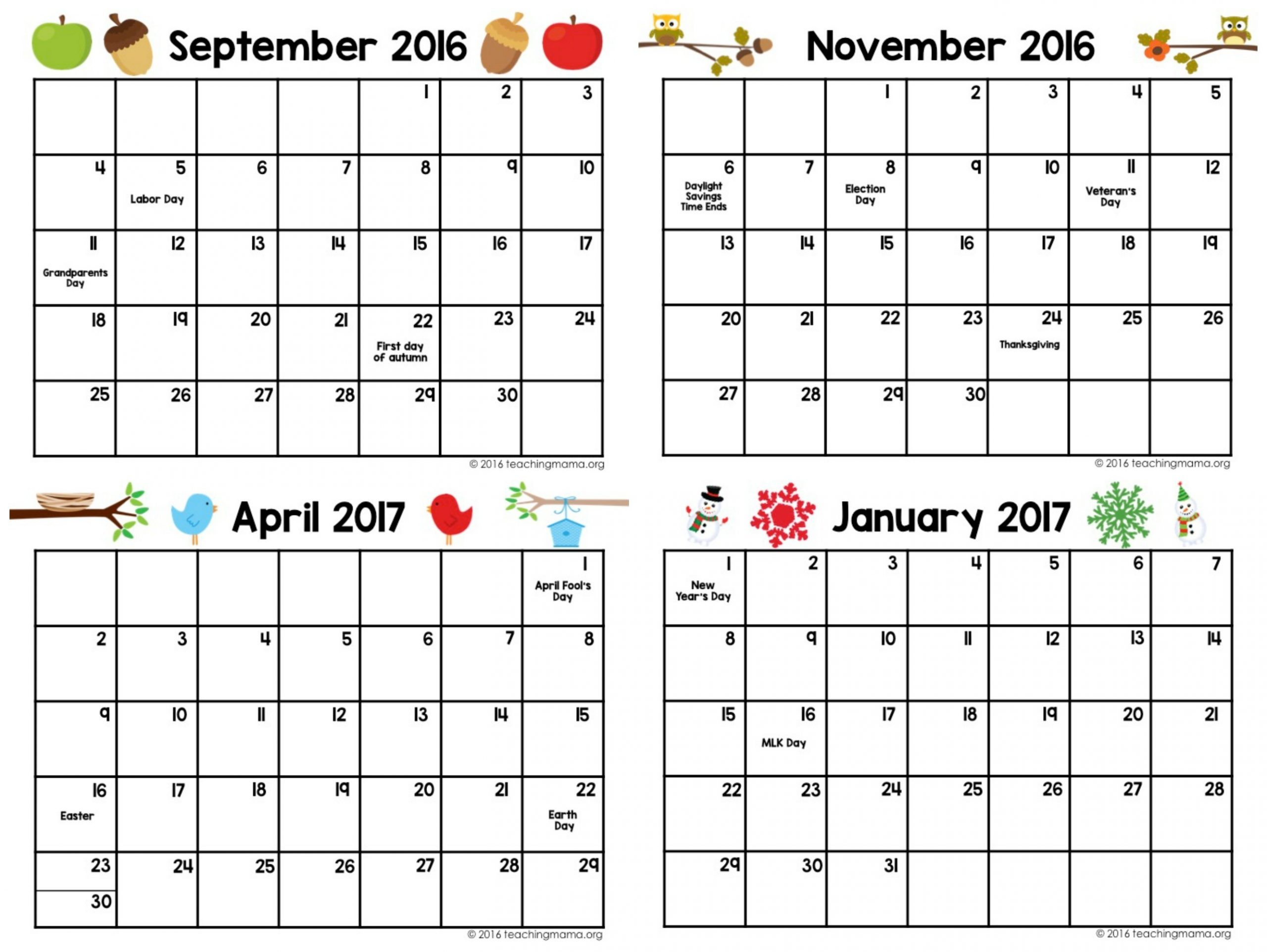 Printable Preschool Planner - On Sale Now! - Teaching Mama  Blank Calendar Page Template Preschool