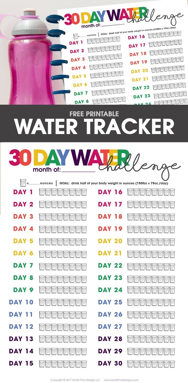 Printable Water Tracker | Free Printable Included | Water  Water Challenge Calendar